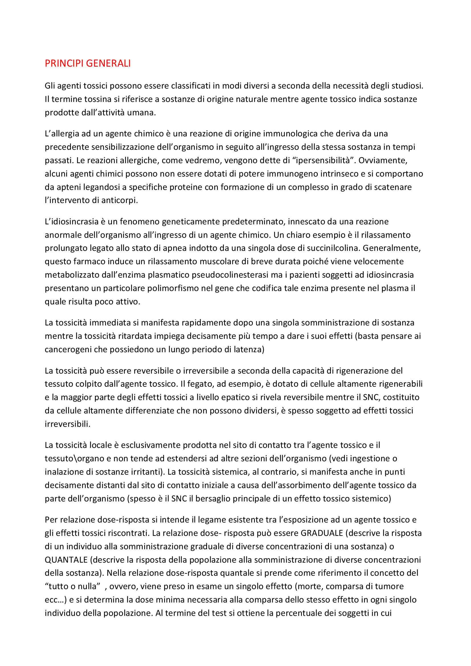 Riassunto esame Tossicologia, prof. Esposito/Campolongo, libro consigliato Casarett
