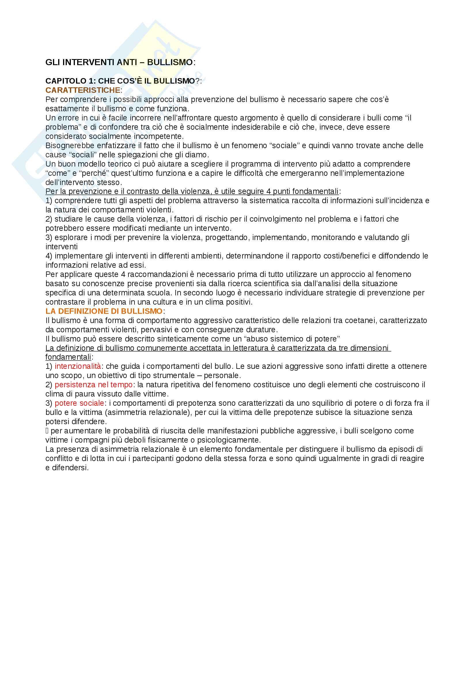 appunto M. Camodeca Psicologia dell'educazione e dei processi di apprendimento