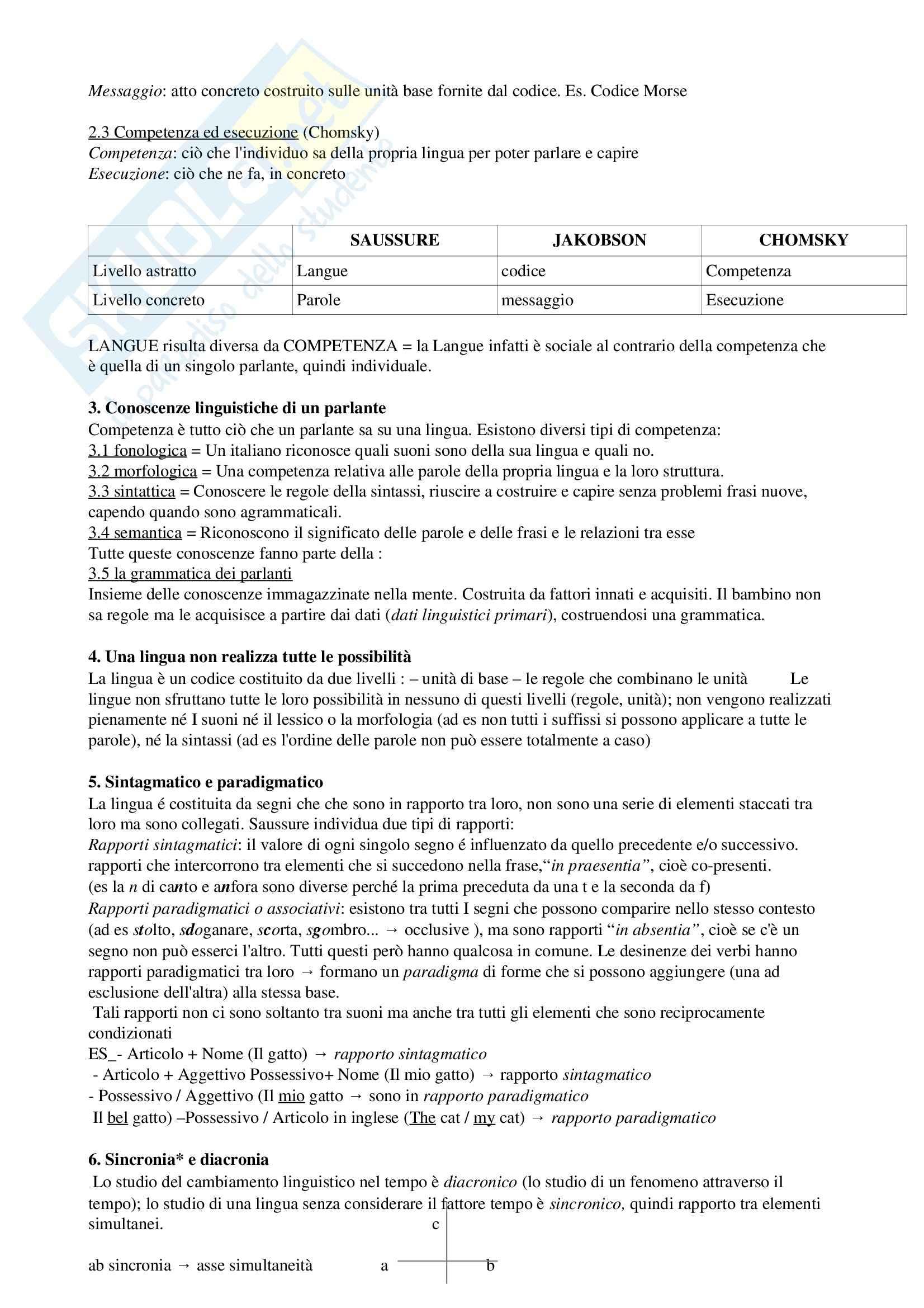 Riassunto esame Linguistica Generale, prof. Assenza, libro consigliato Le lingue e il linguaggio introduzione alla linguistica, Graffi, Scalise Pag. 2