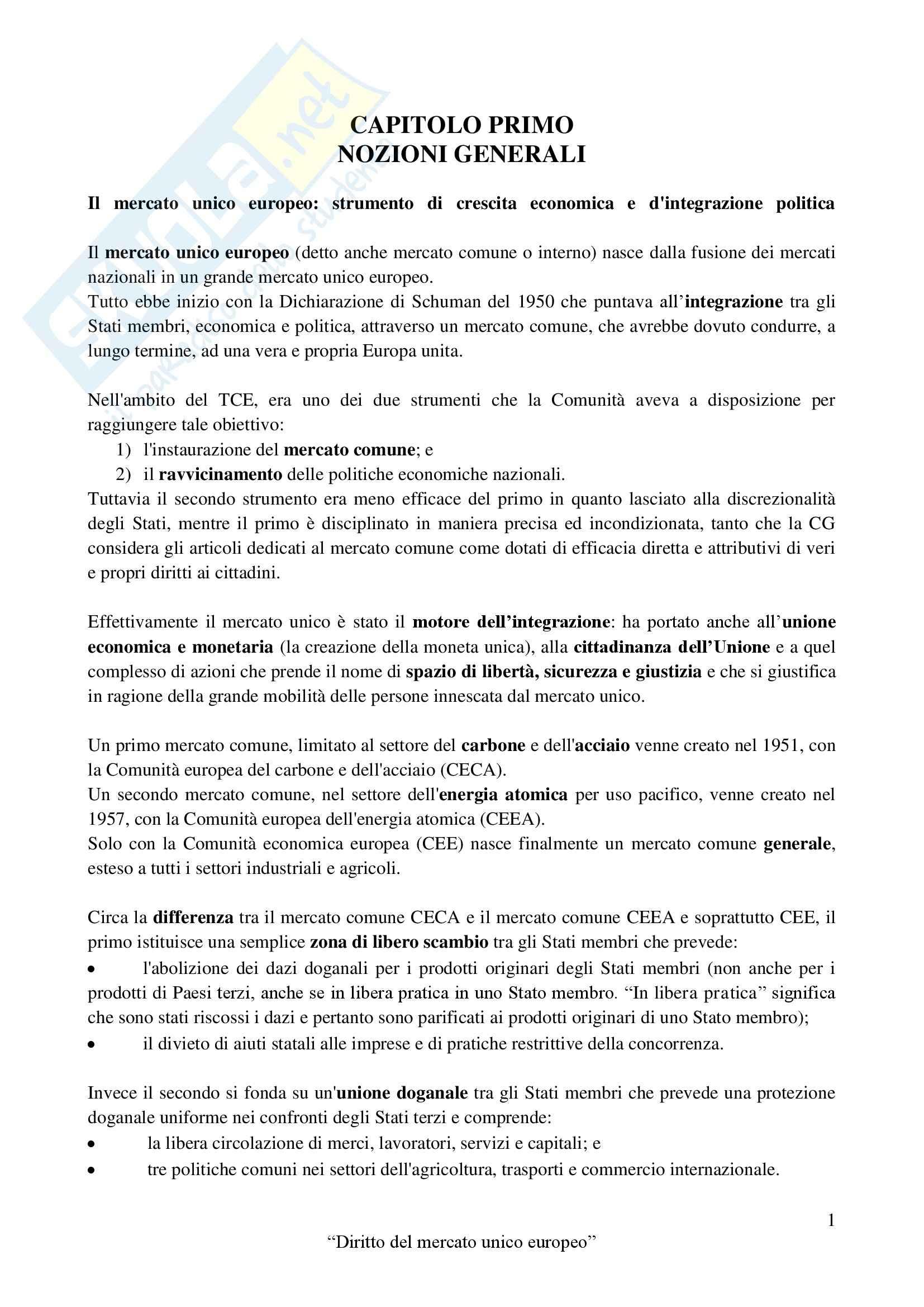 Riassunto esame Diritto dell'Unione Europea, prof. Schepisi, libro consigliato Diritto del Mercato Unico Europeo, Daniele aggiornati Pag. 2