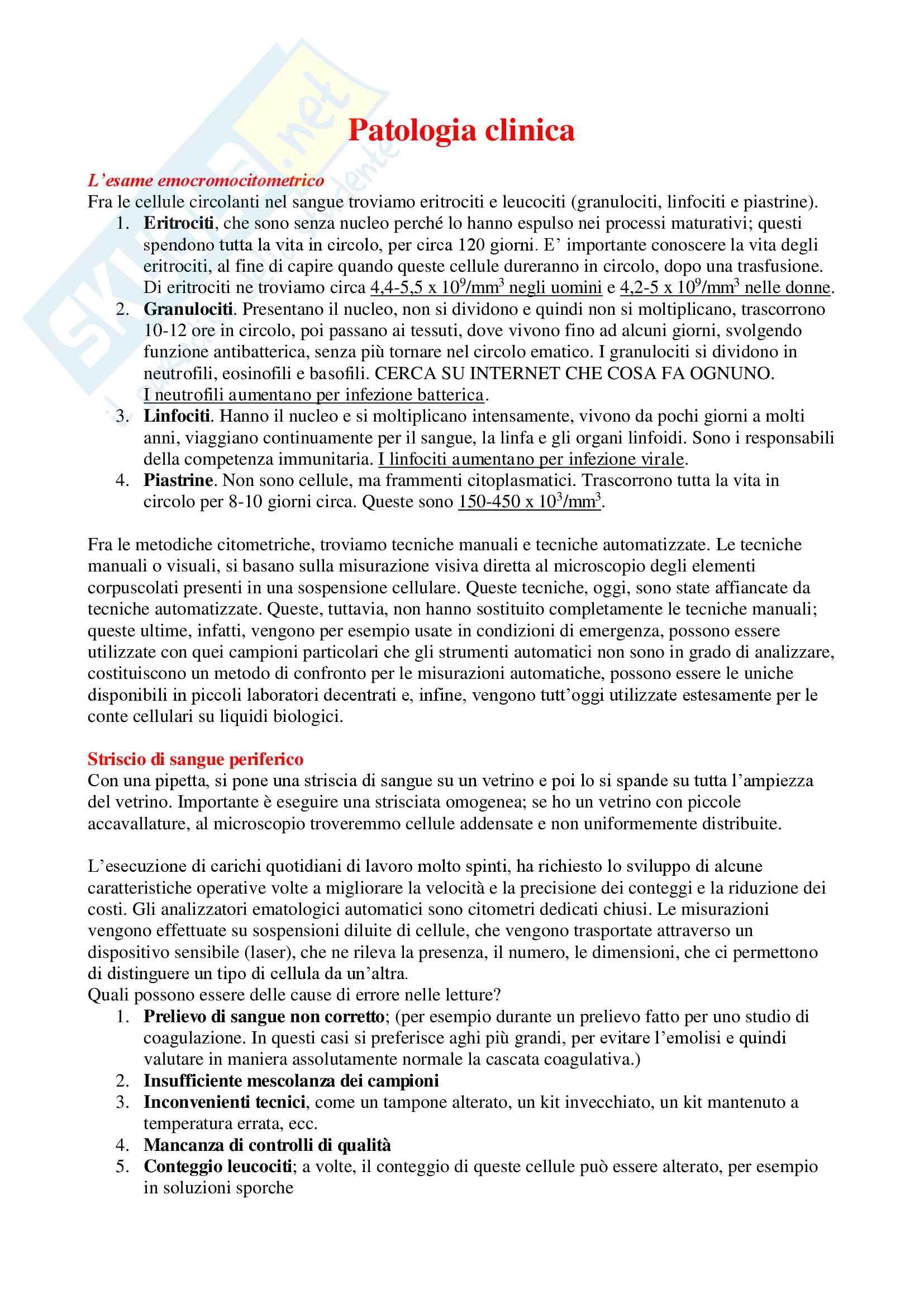 Patologia Clinica - Appunti Completi
