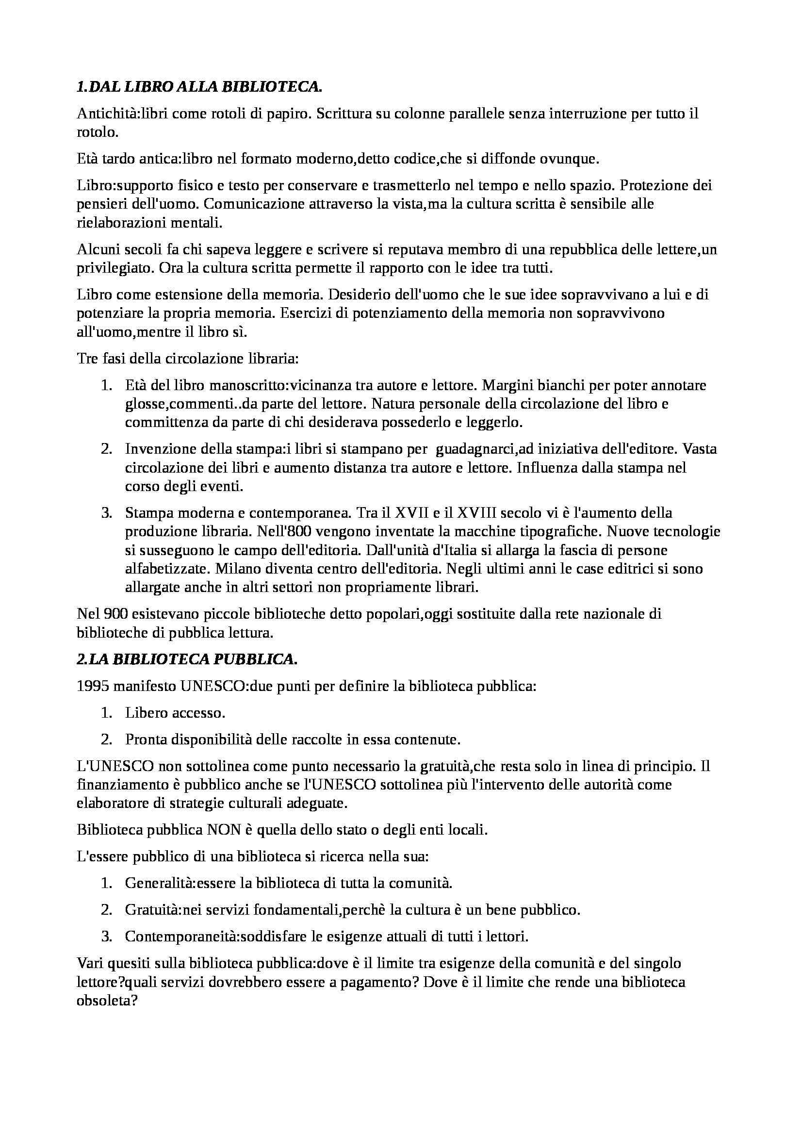 Riassunto esame Biblioteconomia, prof. Montecchi, libro consigliato Manuale di Biblioteconomia