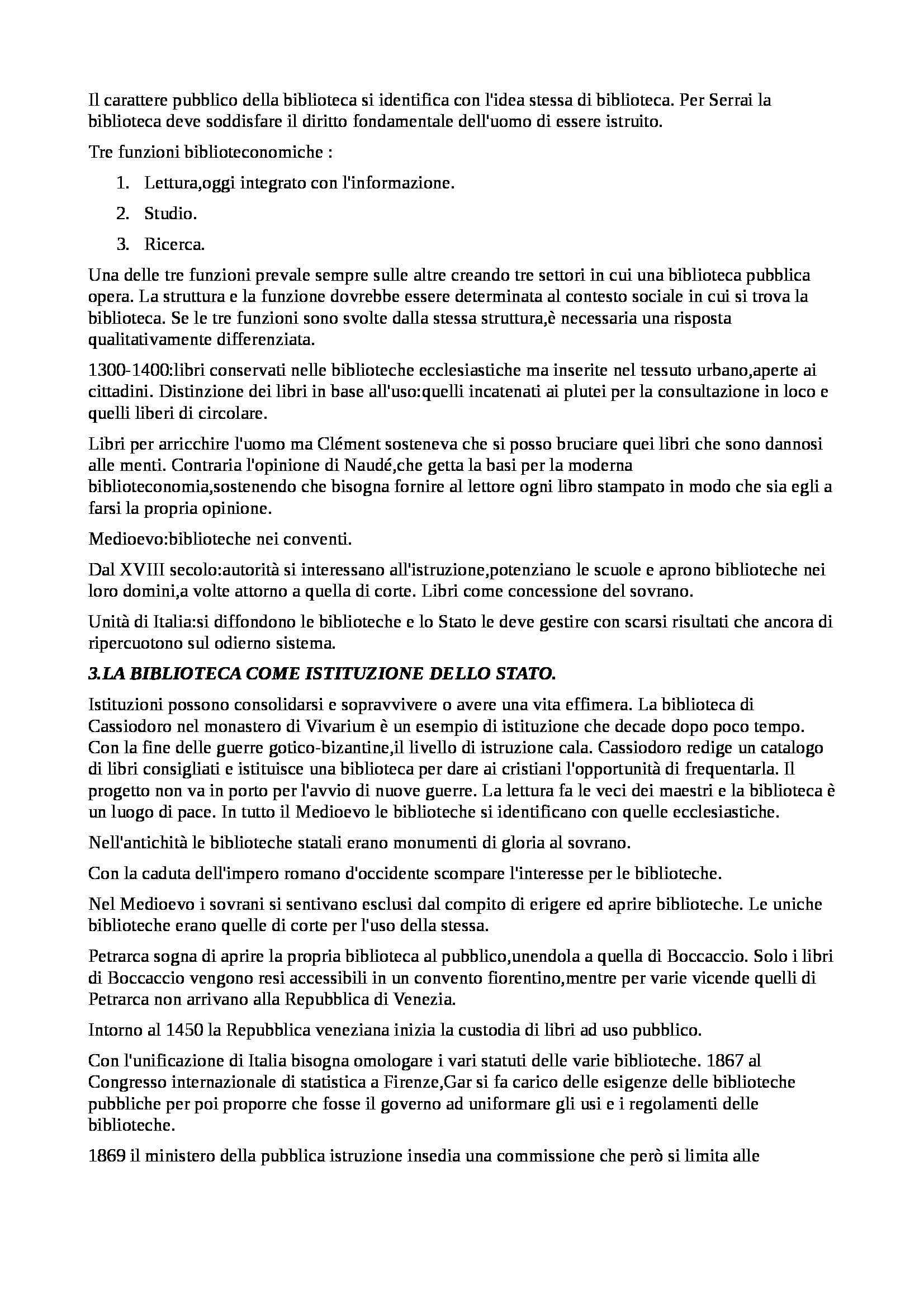 Riassunto esame Biblioteconomia, prof. Montecchi, libro consigliato Manuale di Biblioteconomia Pag. 2