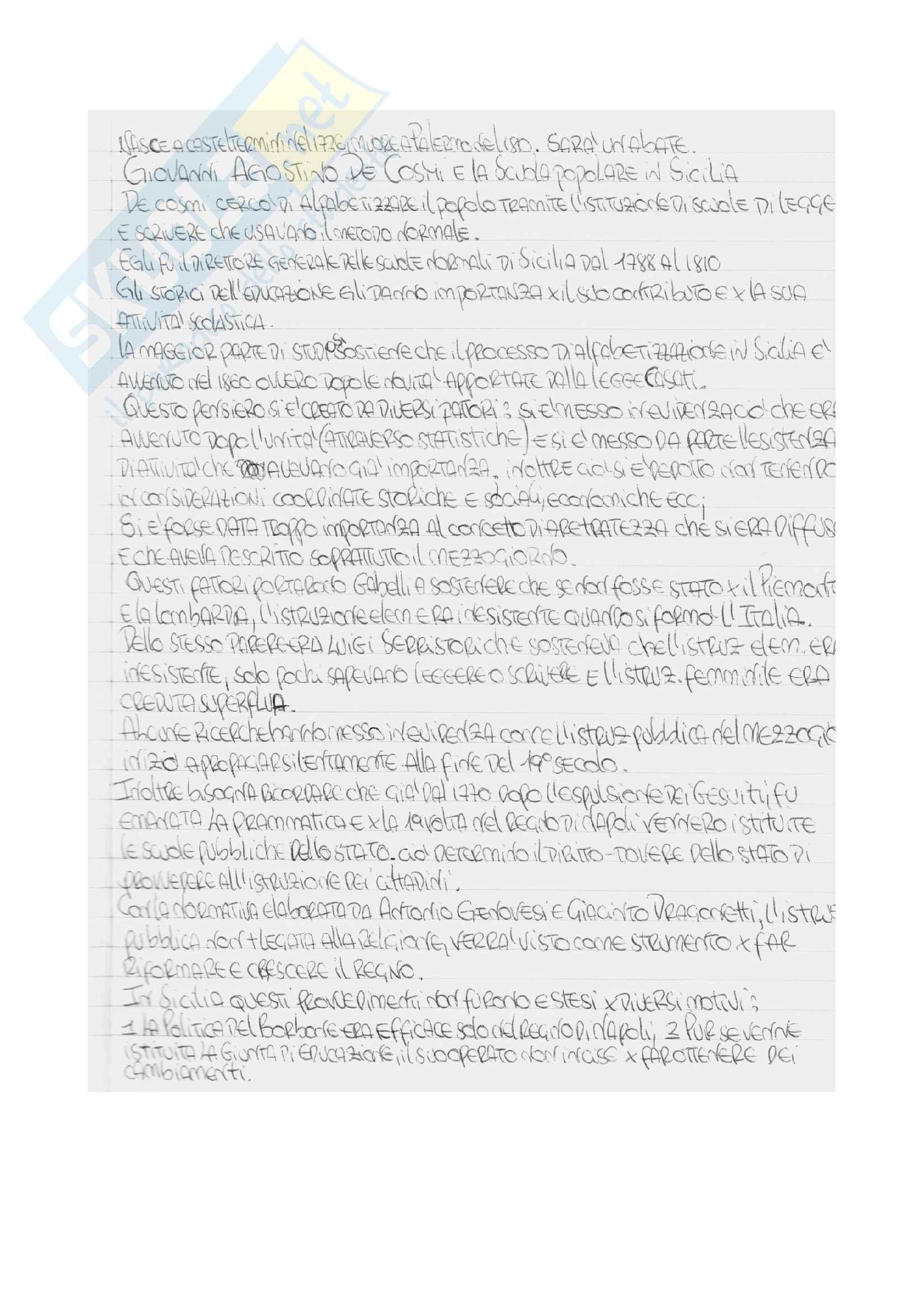 Riassunto esame Storia della scuola, prof. Sindoni, libro consigliato Giovanni Agostino De Cosmi e le scuole popolari di Sicilia, Sindoni