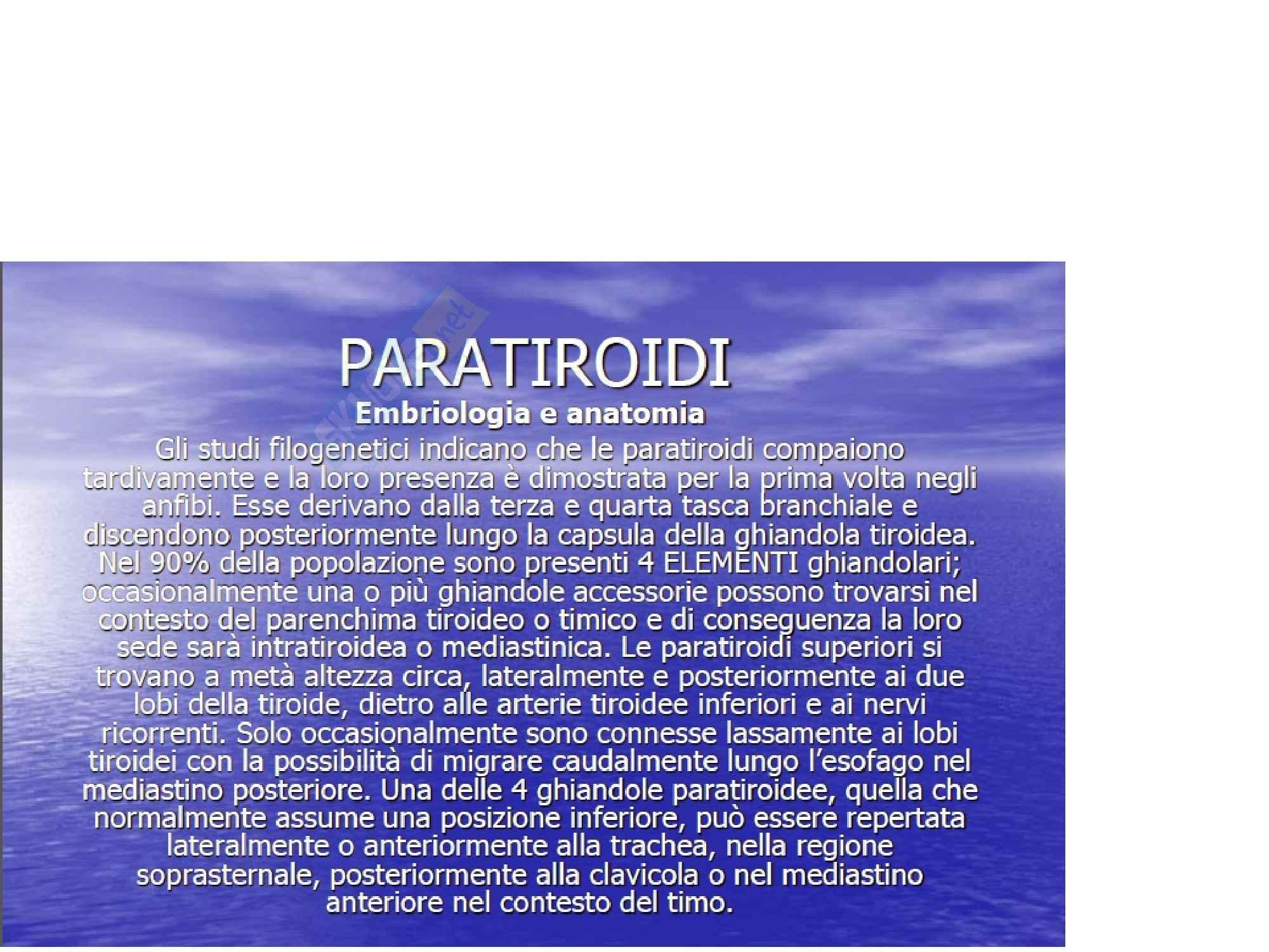 Chirurgia - Paratiroidi PTH e calcemia