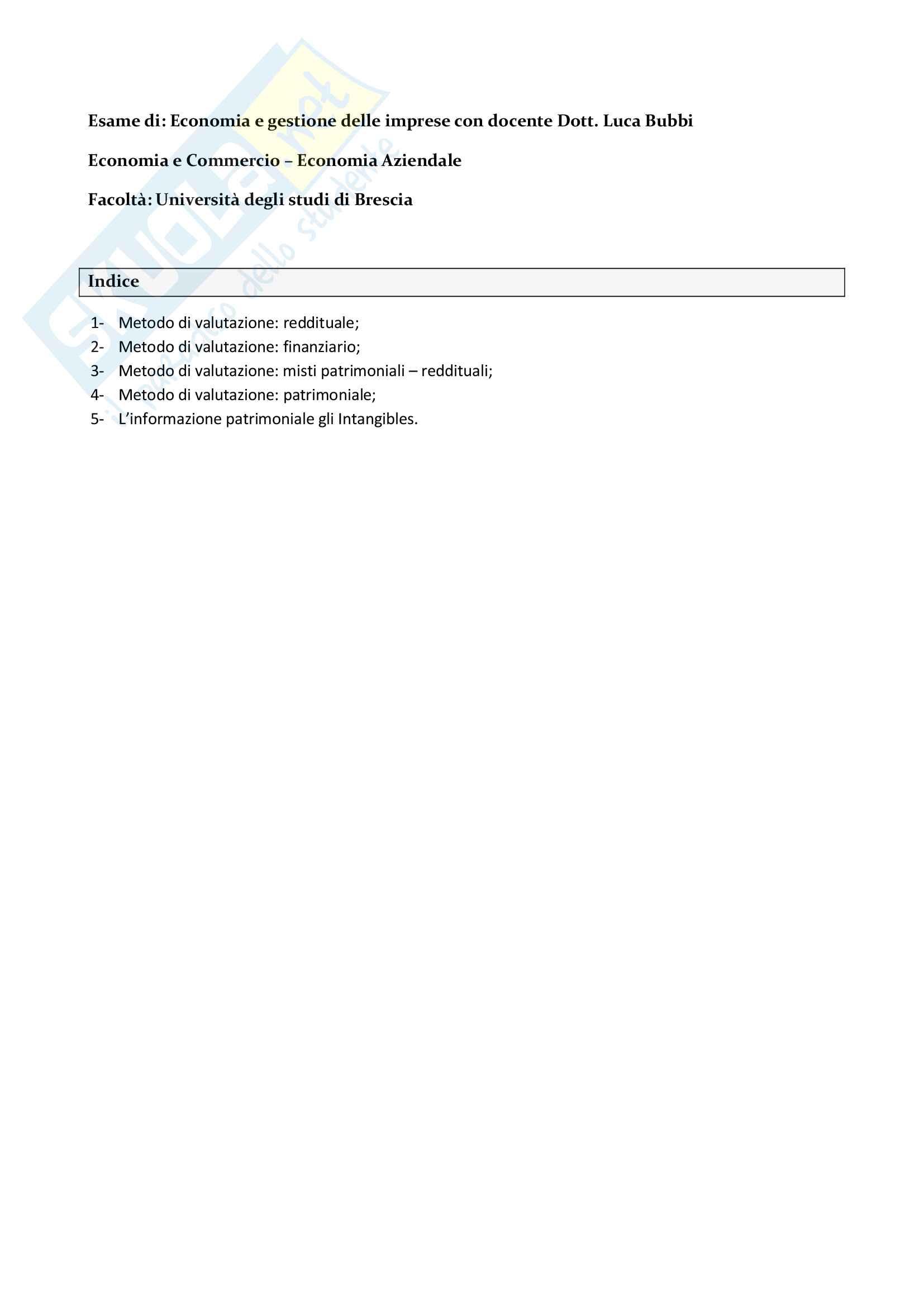 Economia gestione delle imprese - Metodi di valutazione