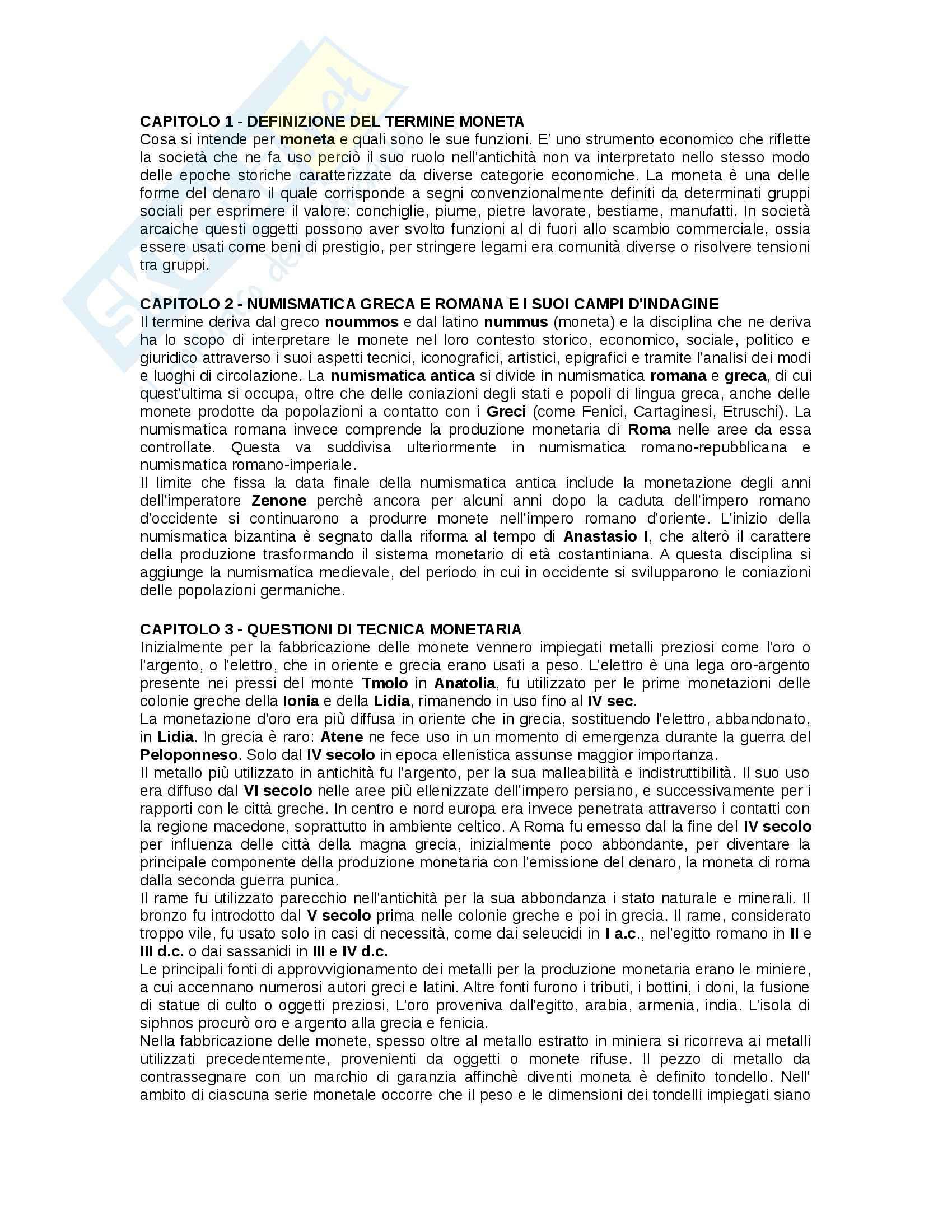 Riassunto esame Numismatica antica, prof. Savio, libro consigliato La moneta in Grecia e a Roma, Cantilena
