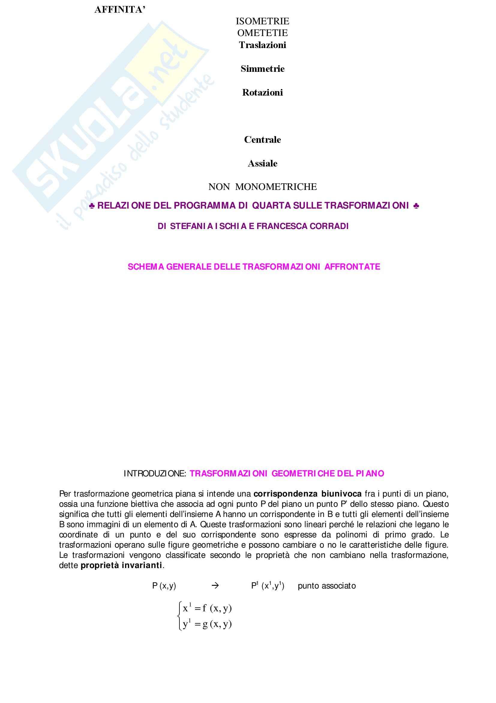 Matematica - trasformazioni matematiche