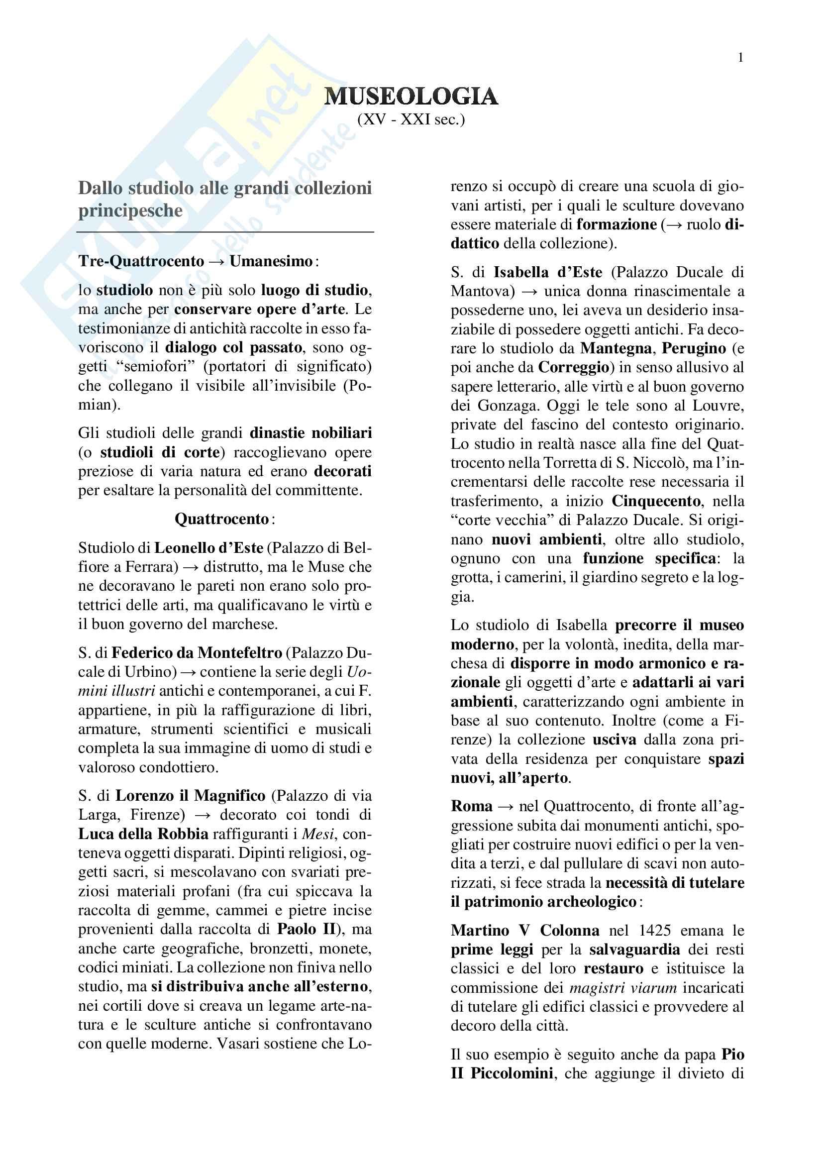 Storia del museo (XV-XXI sec.), esame di Museologia, prof.ssa Fiorio