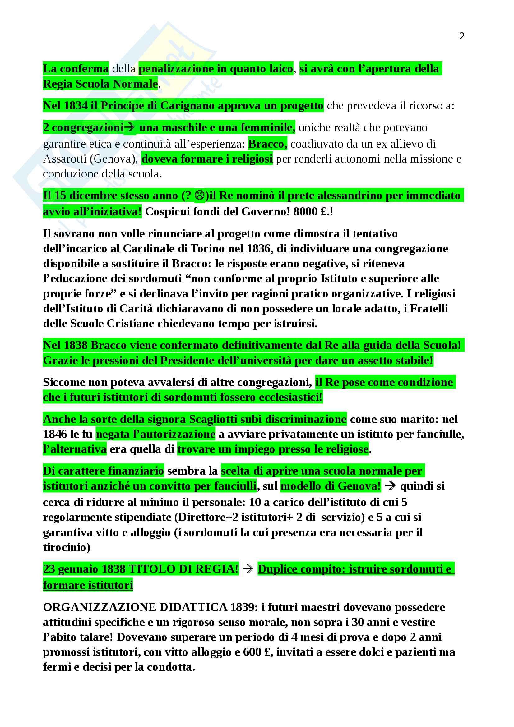 Riassunto esame storia della pedagogia, prof Morandini, libro consigliato La conquista della parola. L'educazione dei sordomuti a Torino tra Otto e Novecento Pag. 2