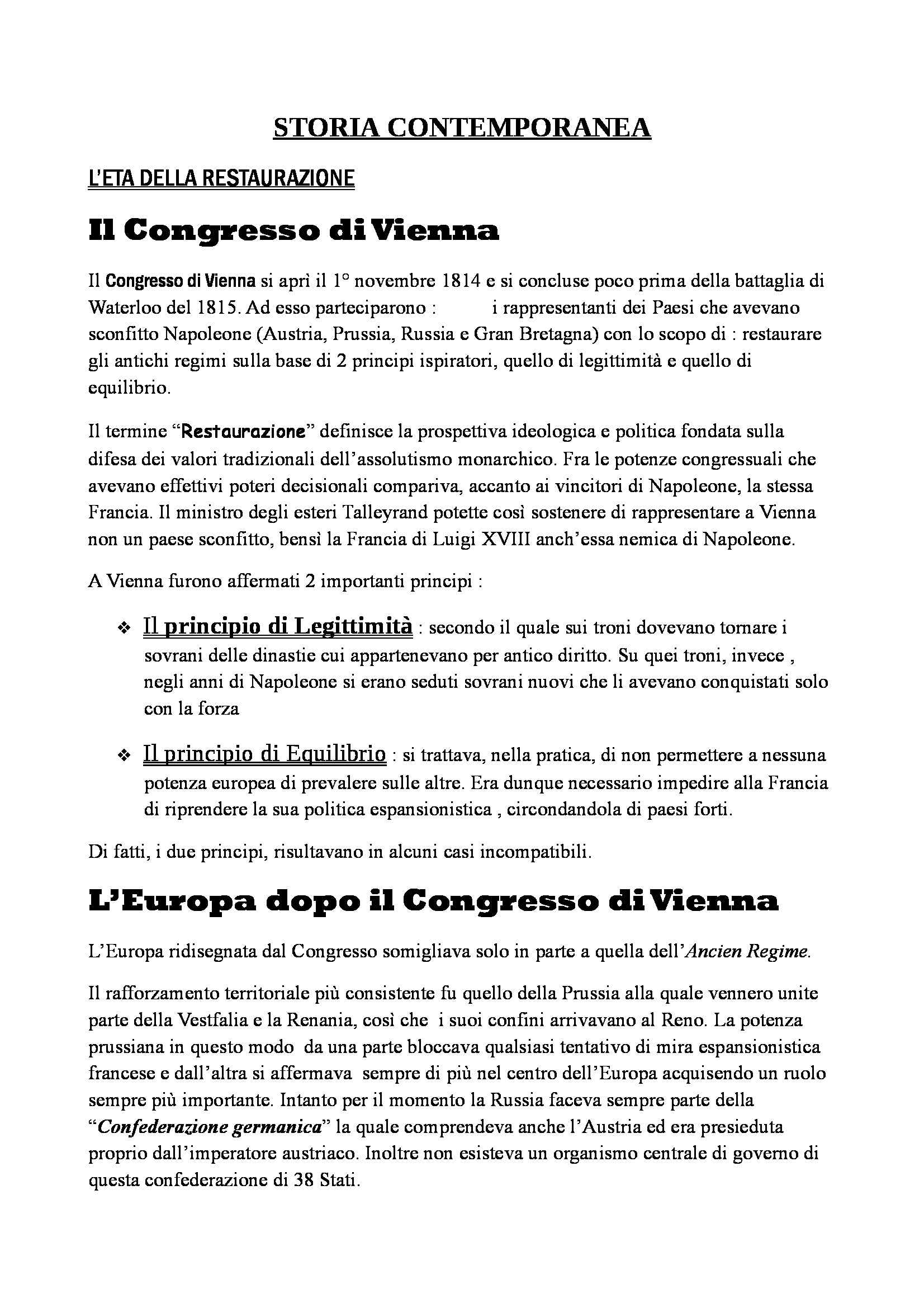 Riassunto esame Storia Contemporanea, prof. De Lorenzo, libro consigliato Elementi di Storia Contemporanea, Luca