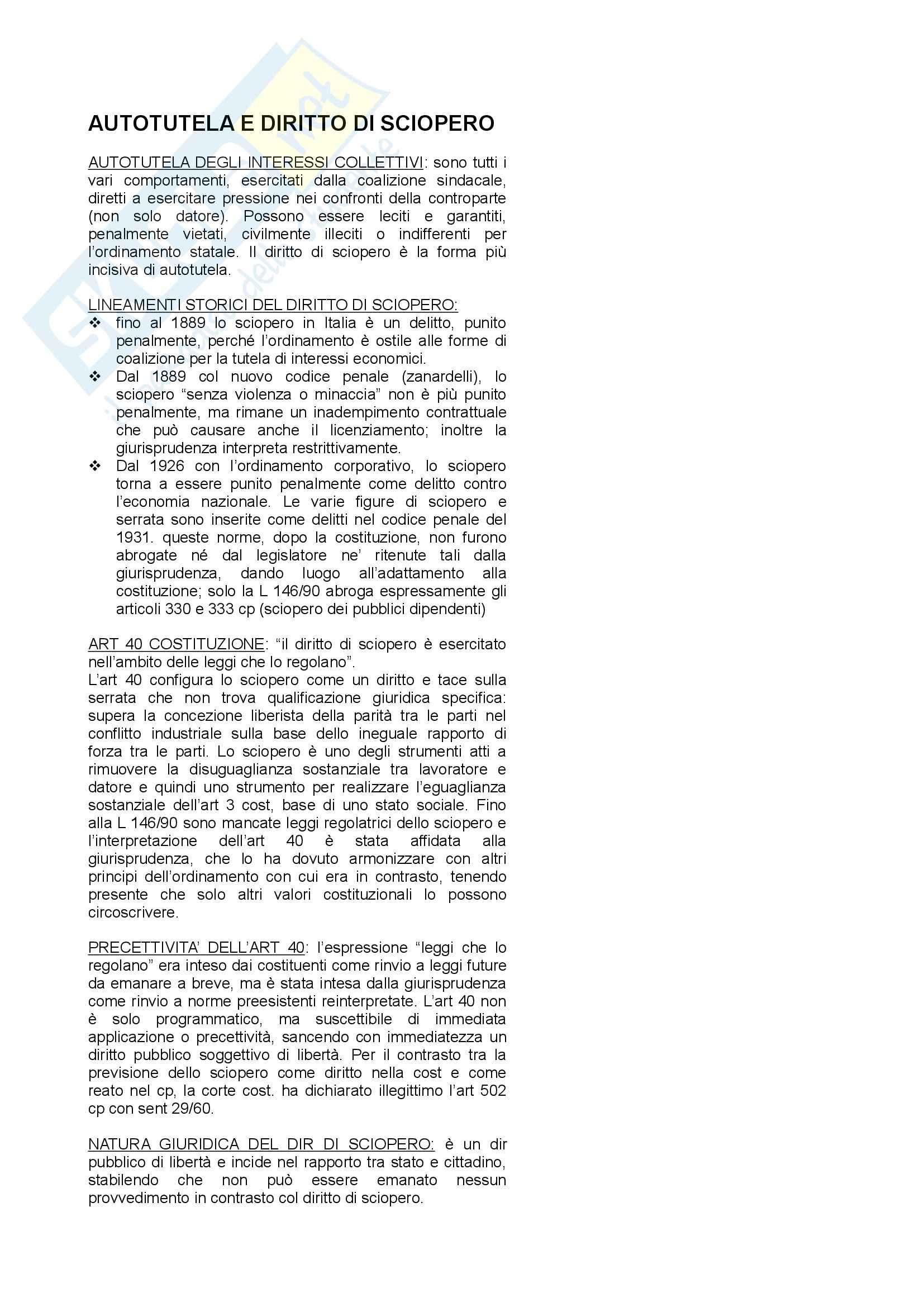 Riassunto esame Diritto Sindacale, prof. Borelli, libro consigliato Diritto Sindacale, Giugni