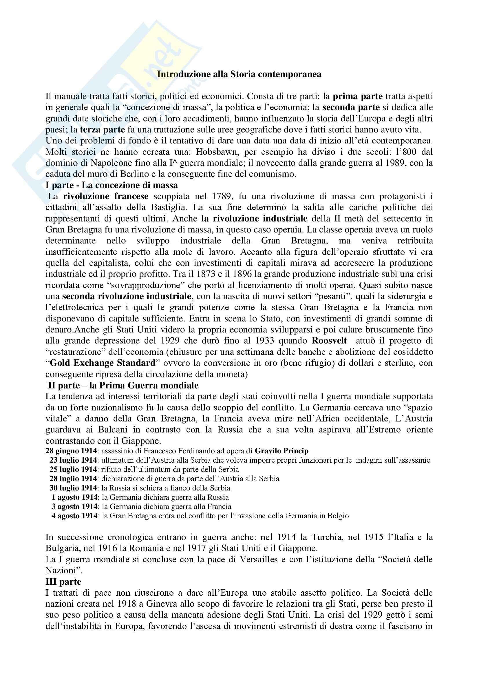 Riassunto esame Storia Contemporanea, prof. indefinito, libro consigliato Introduzione alla Storia Contemporanea, Pombeni