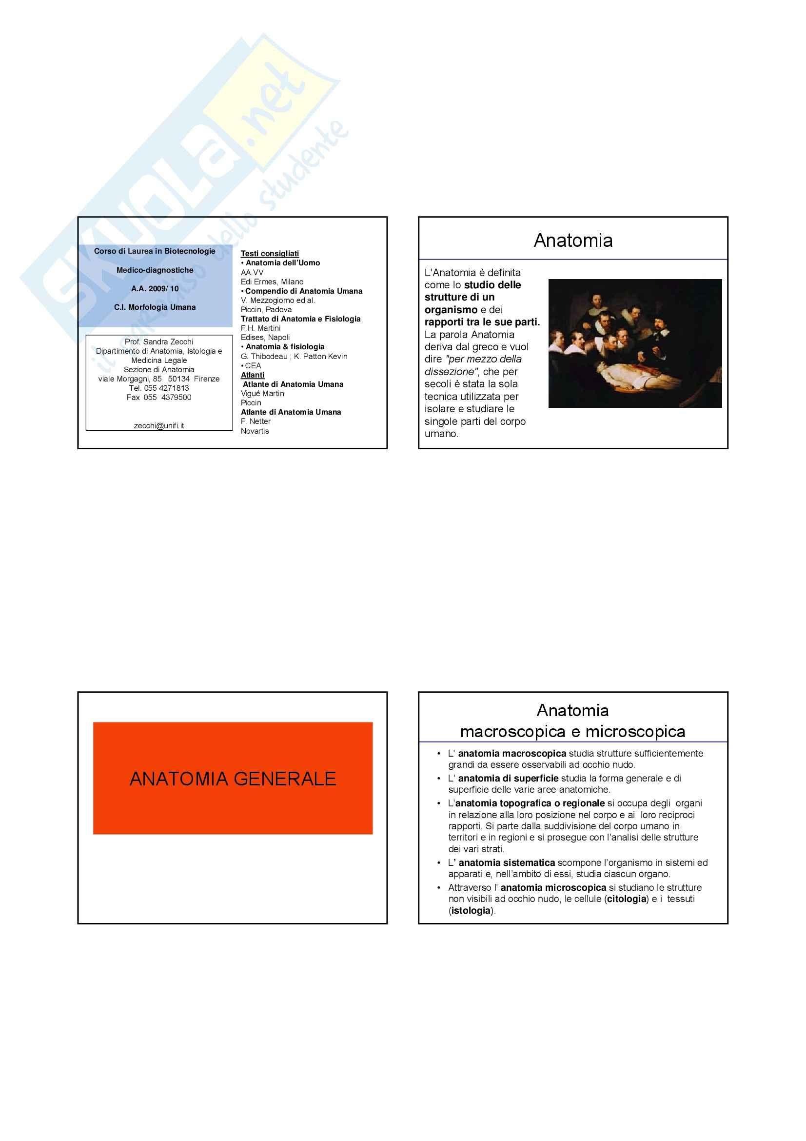 Anatomia I - Anatomia Generale – Slides 1