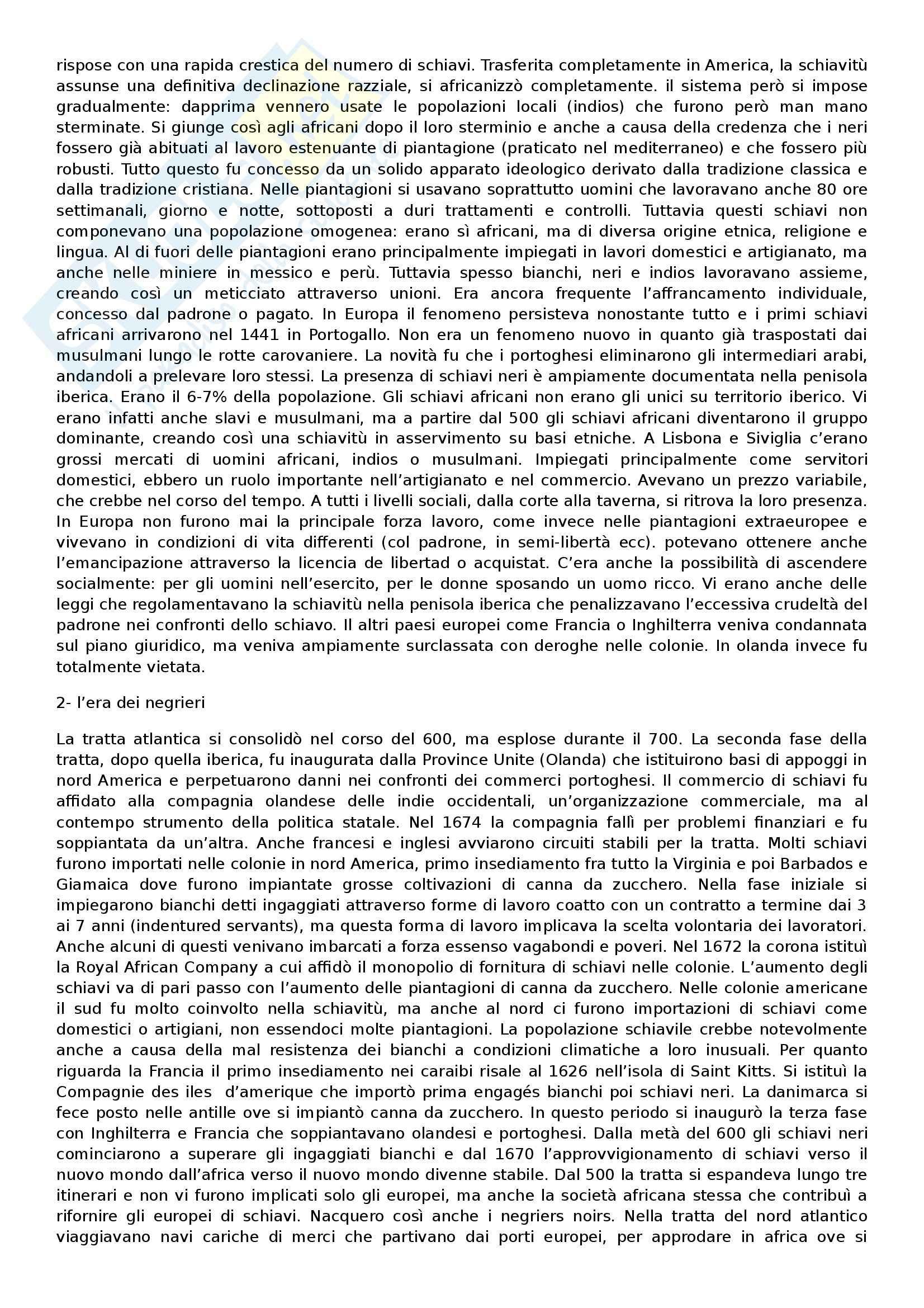 Riassunto esame Storia Moderna, prof. Roggero, libro consigliato La schiavitù in età moderna, Del Piano Pag. 2