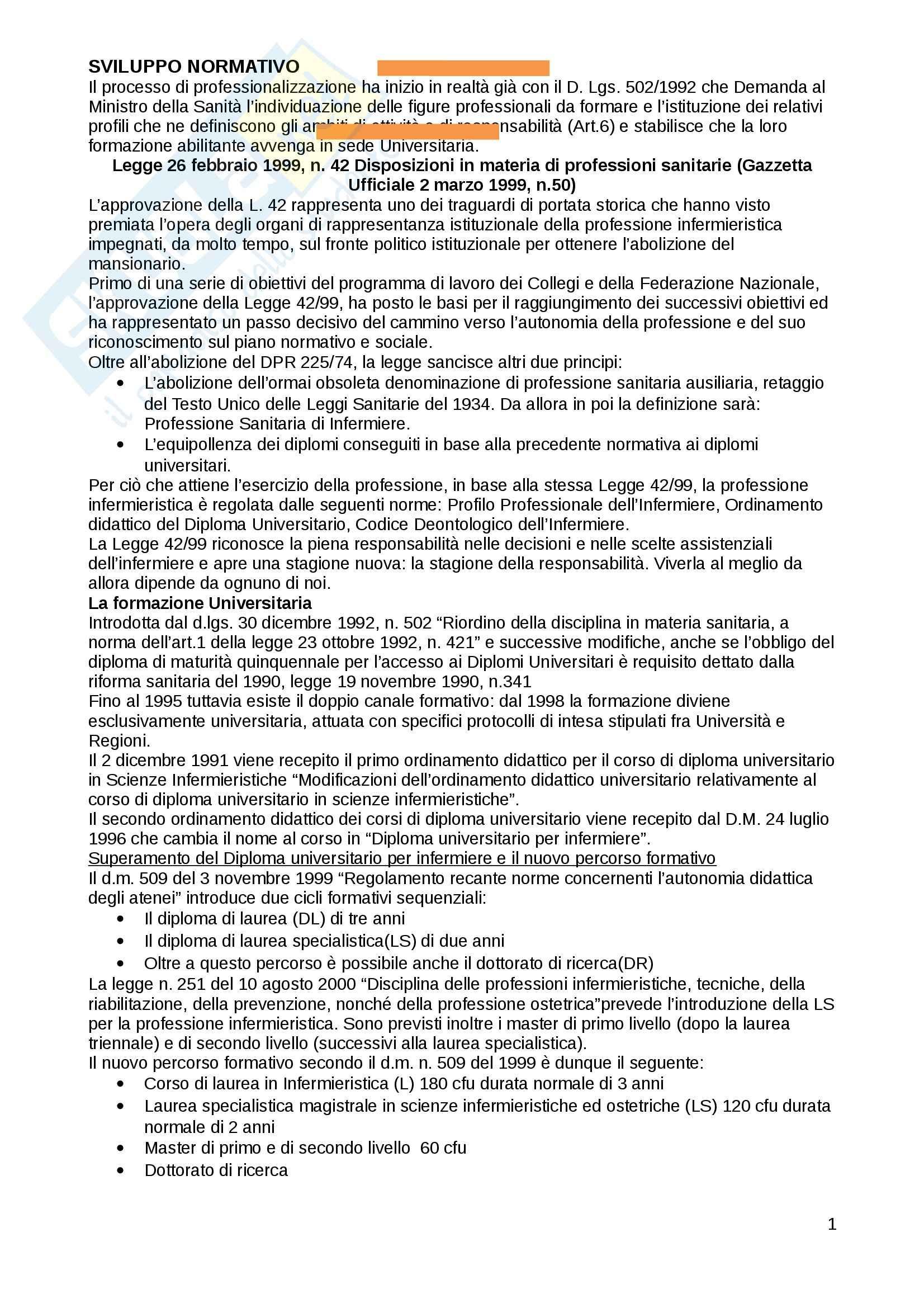 Infermieristica - legislazione sanitaria