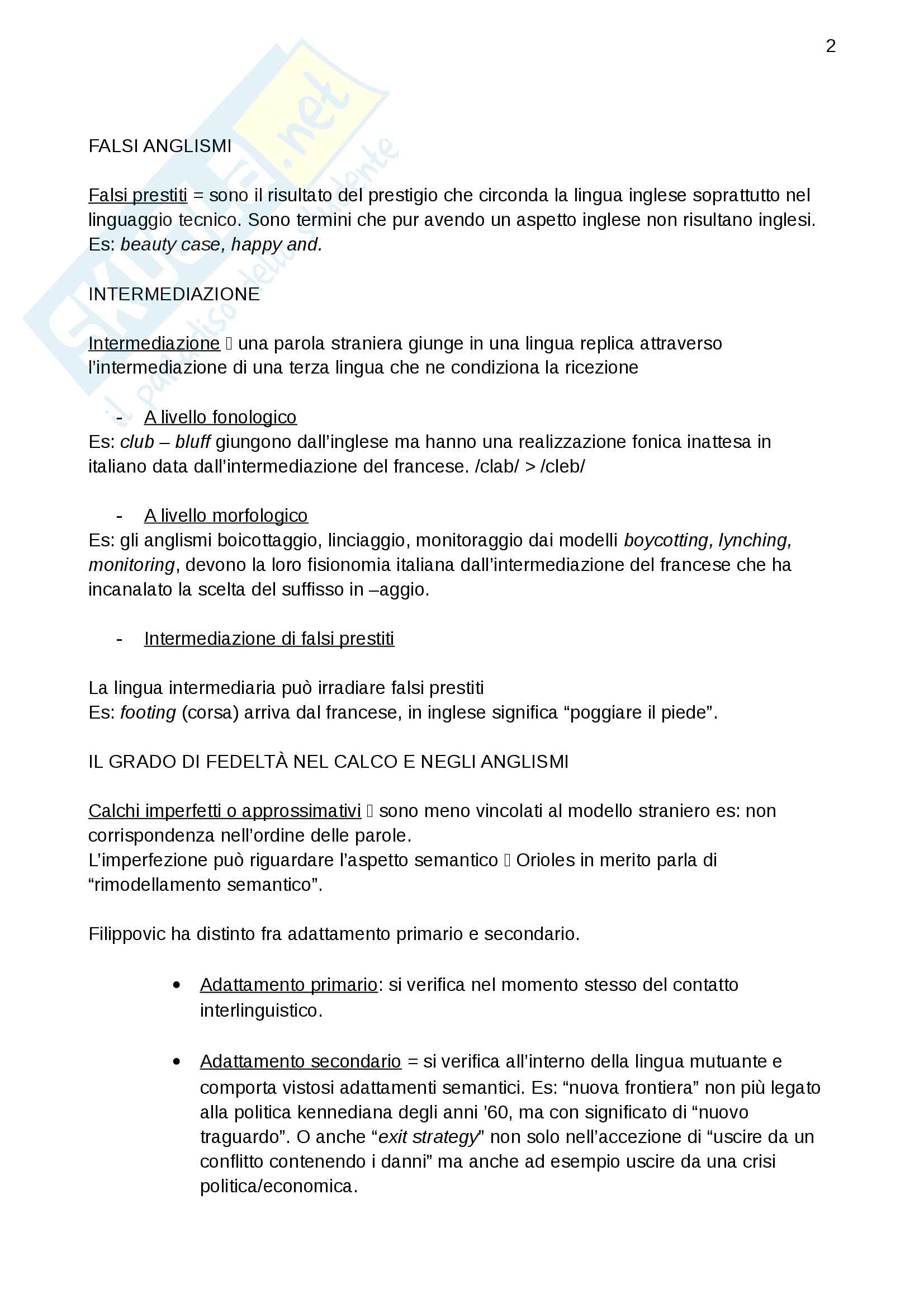 Riassunto esame Letteratura italiana del rinascimento, prof. Bombi, libro consigliato La linguistica del contatto. Tipologie di anglismi nell'italiano contemporaneo e riflessi metalinguistici Pag. 2