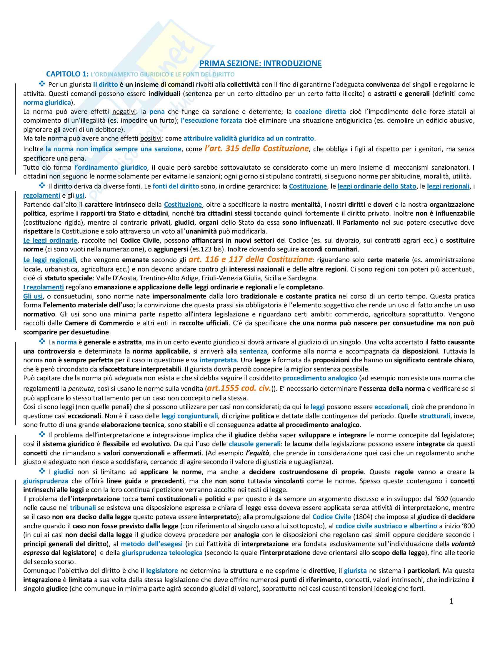 Riassunto esame Diritto privato, prof. Azzalini, libro consigliato Istituzioni di diritto privato, Trimarchi