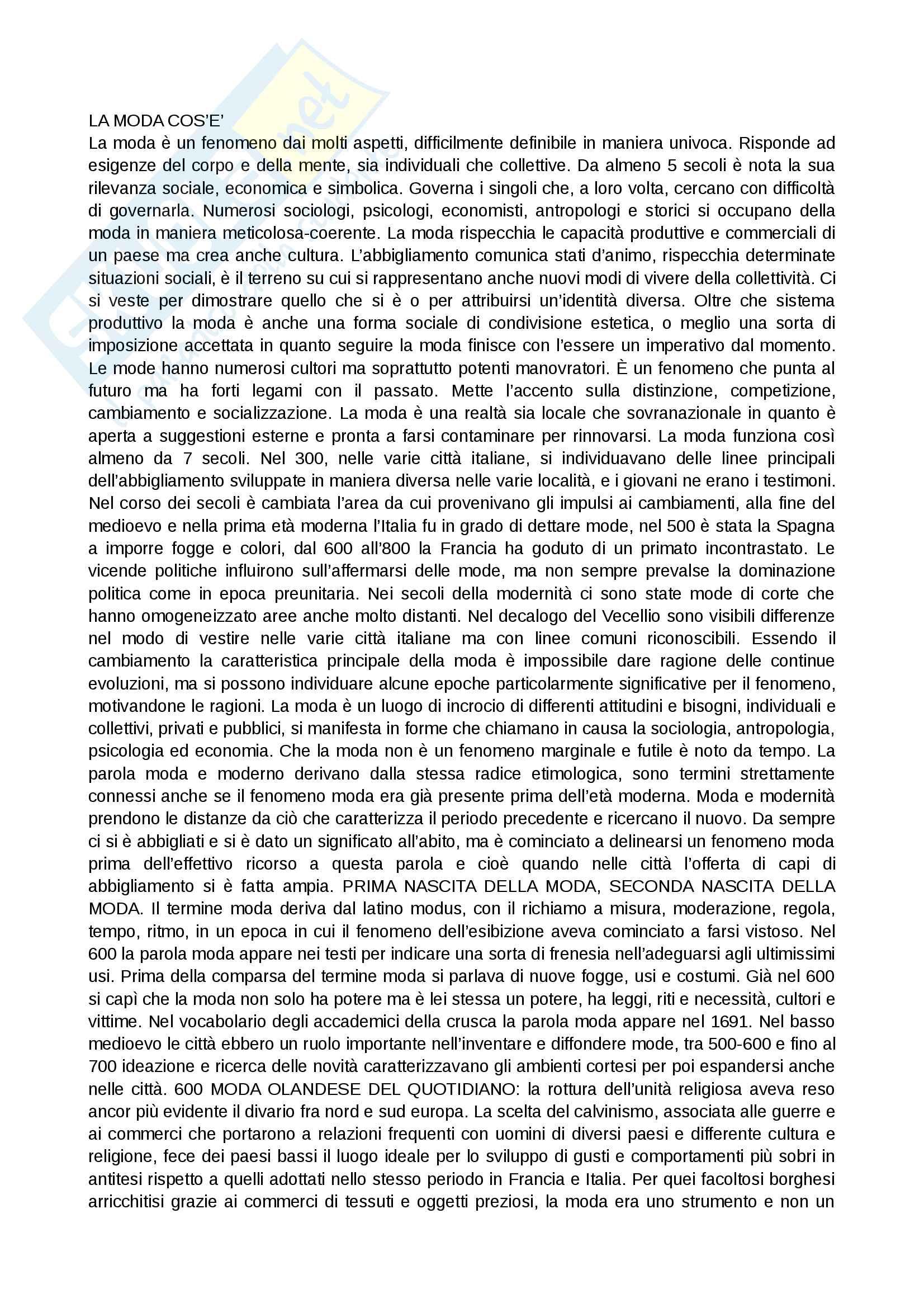 Riassunto esame storia del costume e della moda, prof.ssa Muzzarelli, libro consigliato Breve storia della moda in italia, Muzzarelli