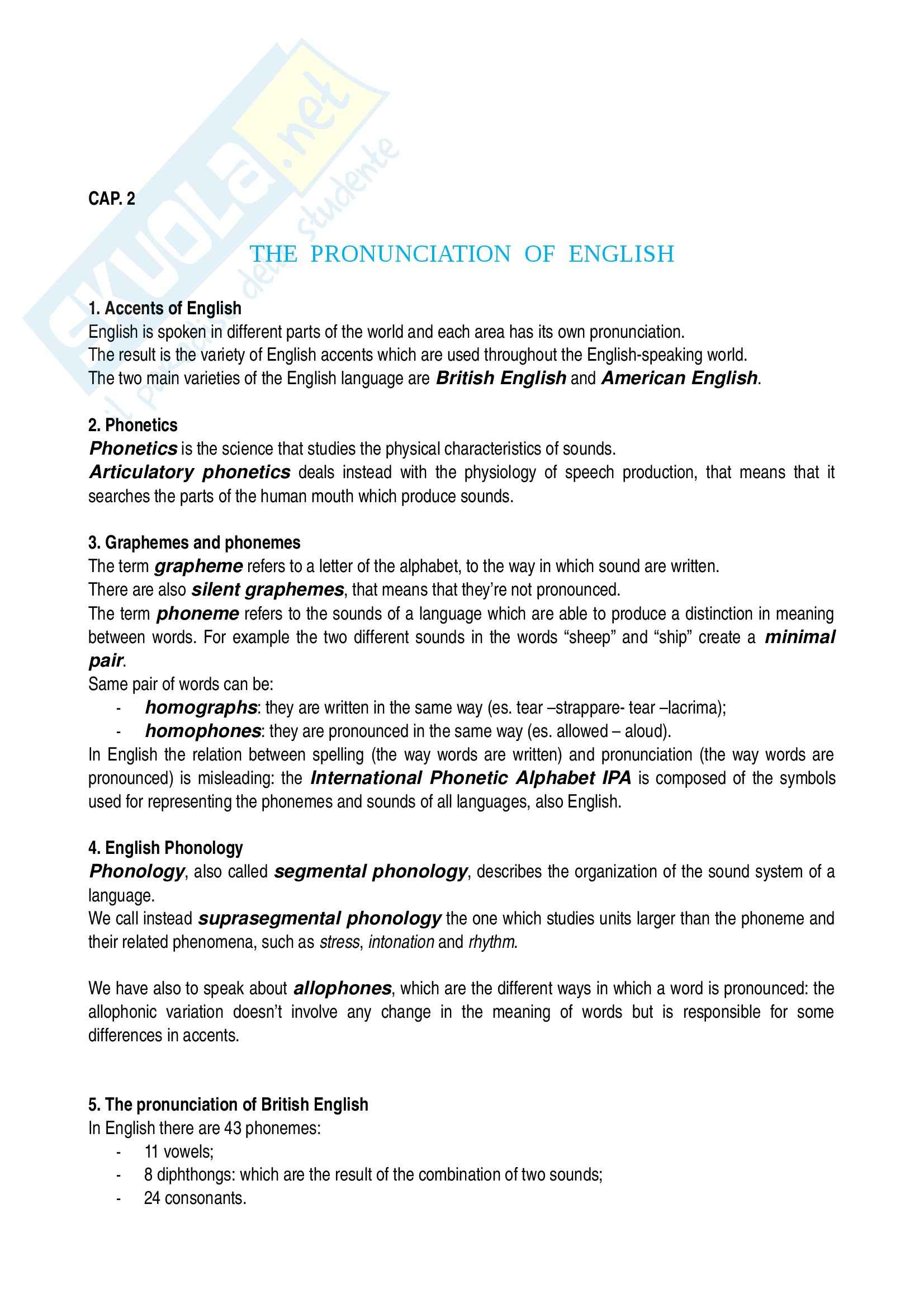 Riassunto esame Linguistica inglese, prof. Camaiora, libro consigliato libro A handbook of present day English, Pulcini Pag. 6