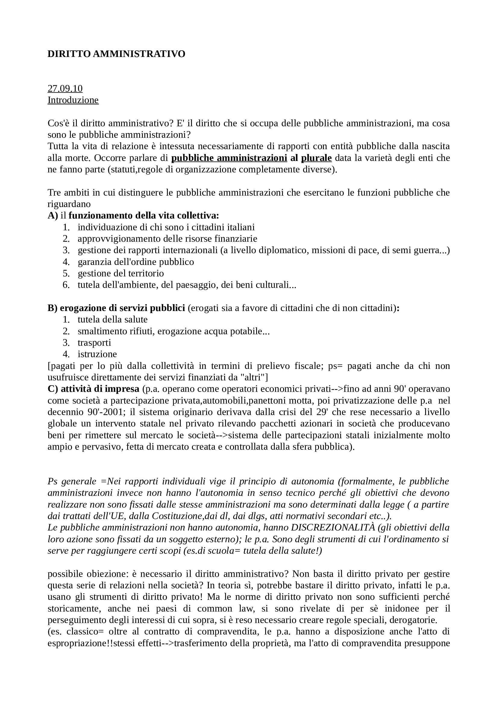 Diritto amministrativo - Appunti Pag. 1