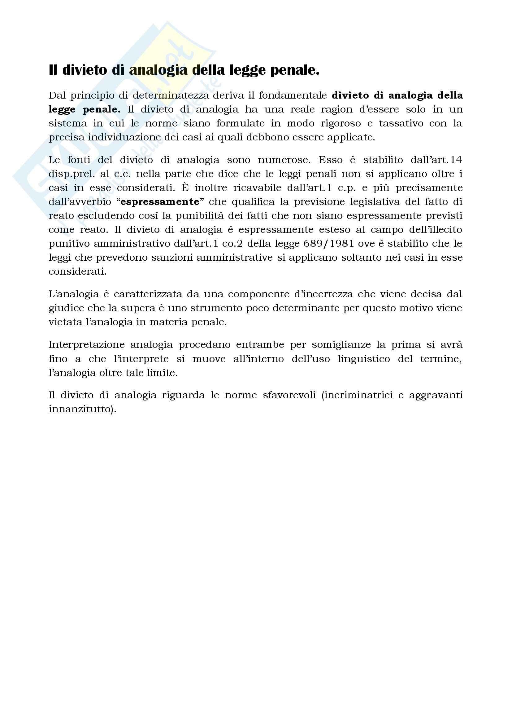 Diritto penale - divieto di analogia della legge penale