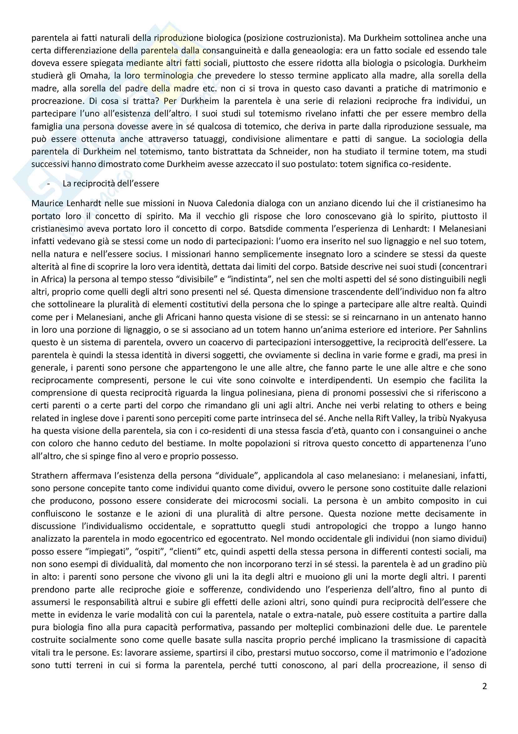 Riassunto esame Antropologia Sociale, docente Viazzo, libro Consigliato La parentela: cos'è e cosa non è, Autore Marshall Sahnlins Pag. 2