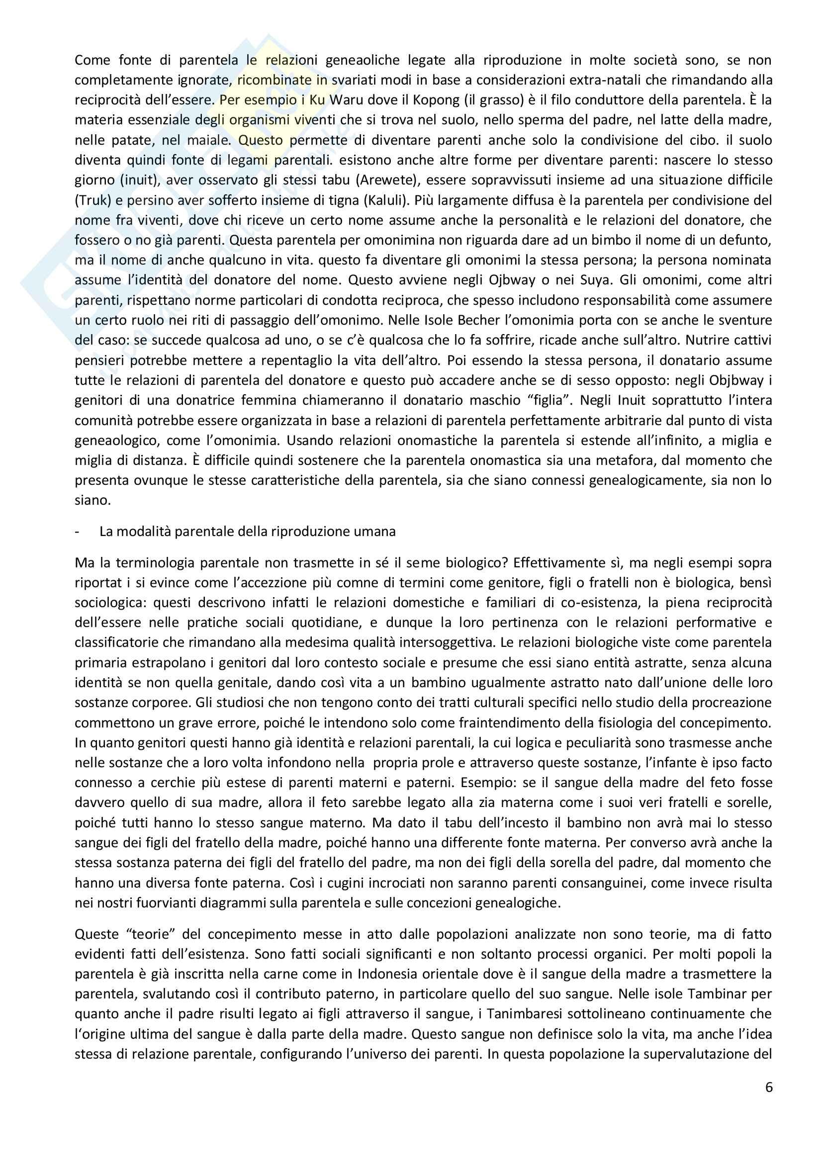 Riassunto esame Antropologia Sociale, docente Viazzo, libro Consigliato La parentela: cos'è e cosa non è, Autore Marshall Sahnlins Pag. 6