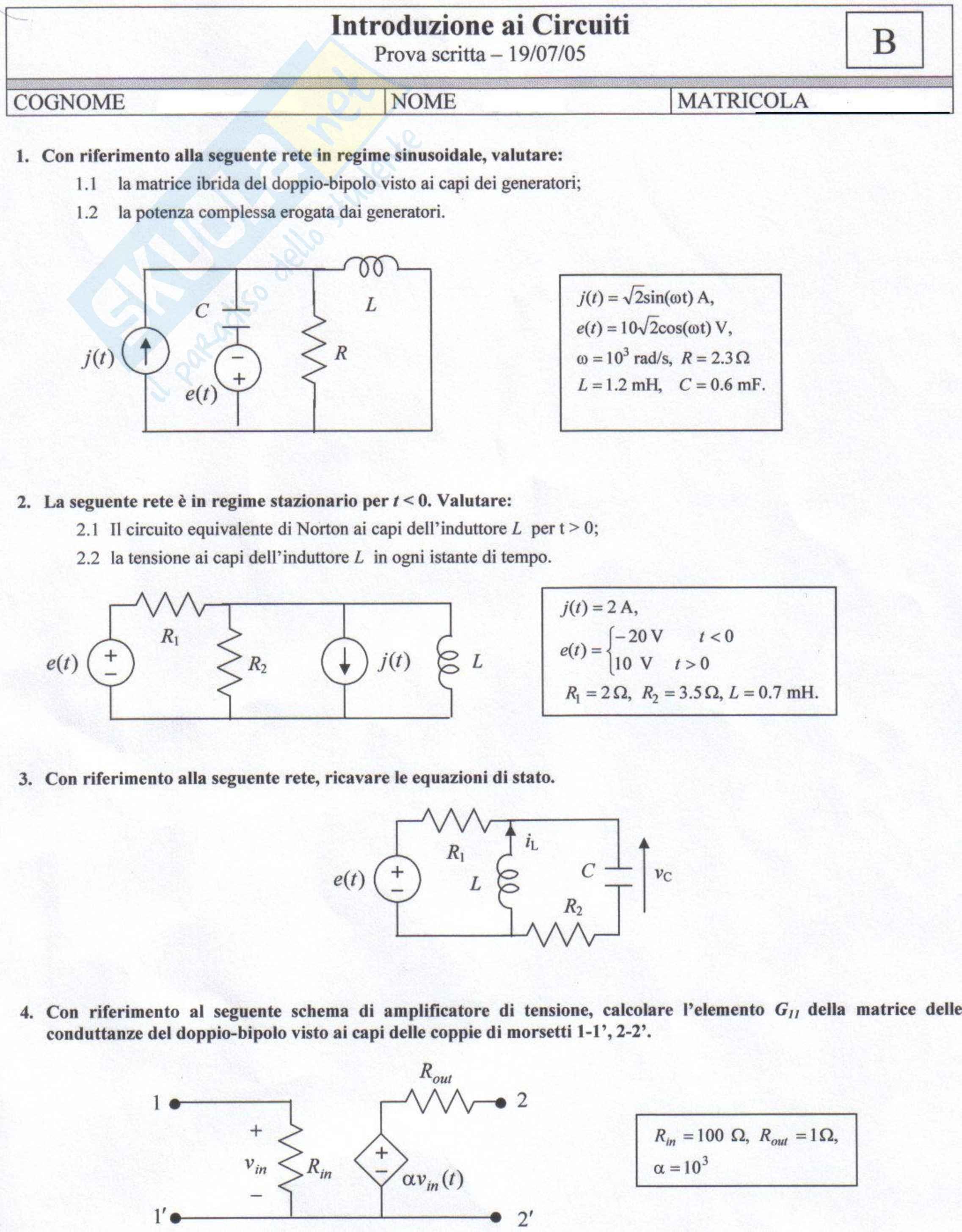 Introduzione ai circuiti - Prova d'esame Luglio 2005