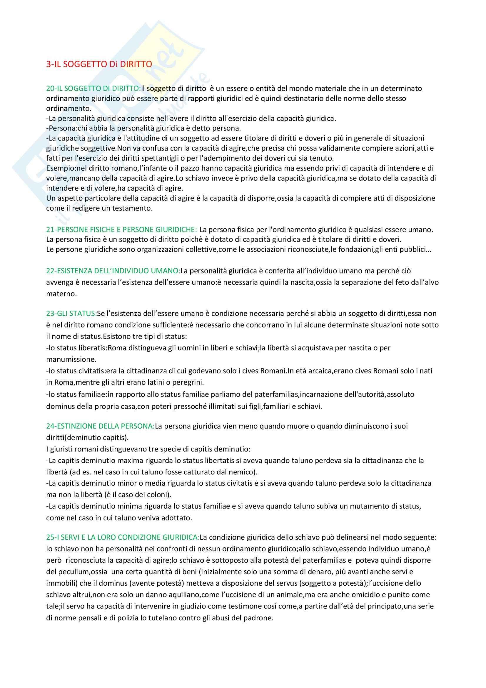 Istituzioni di diritto romano - Riassunto esame, prof. Gnoli