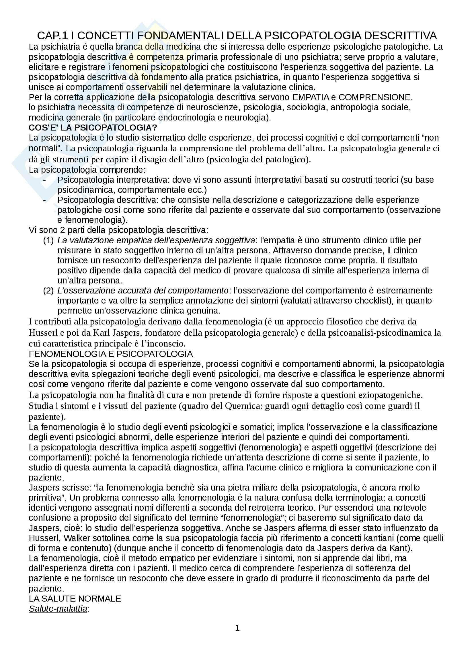 Riassunto esame Psicopatologia Generale, docente: Luigi Janiri, libro consigliato: Sims- IV Edizione, Introduzione alla psicopatologia descrittiva, Femi Oyebode