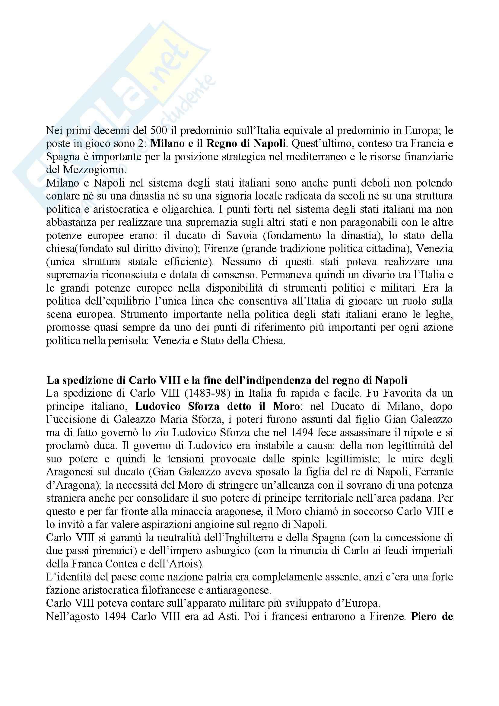 Riassunto esame Storia moderna, prof. Di Rienzo, libro consigliato Le vie della modernità, Musi