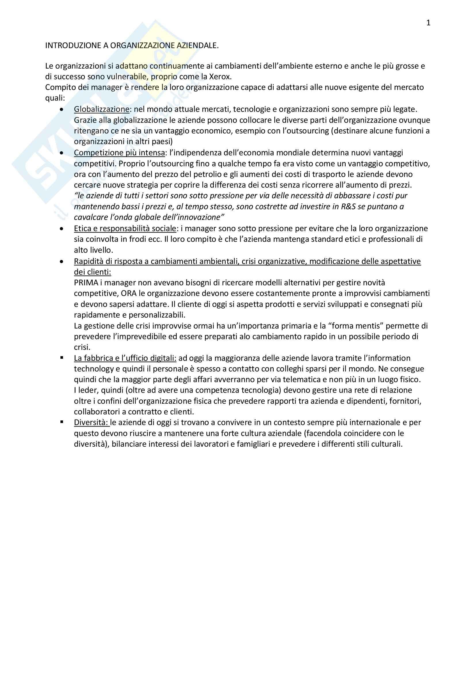 Riassunto esame Organizzazione Aziendale, prof. Bodega, libro consigliato Organizzazione Aziendale, Daft