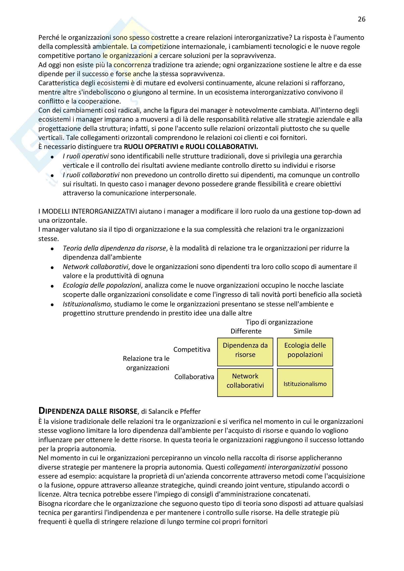 Riassunto esame Organizzazione Aziendale, prof. Bodega, libro consigliato Organizzazione Aziendale, Daft Pag. 26