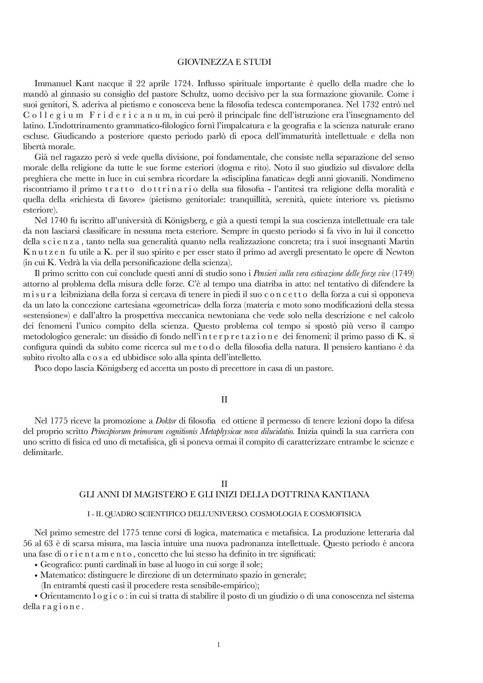 Riassunto esame Estetica, prof. Gentili, libro consigliato Vita e dottrina di Kant, E Cassirer