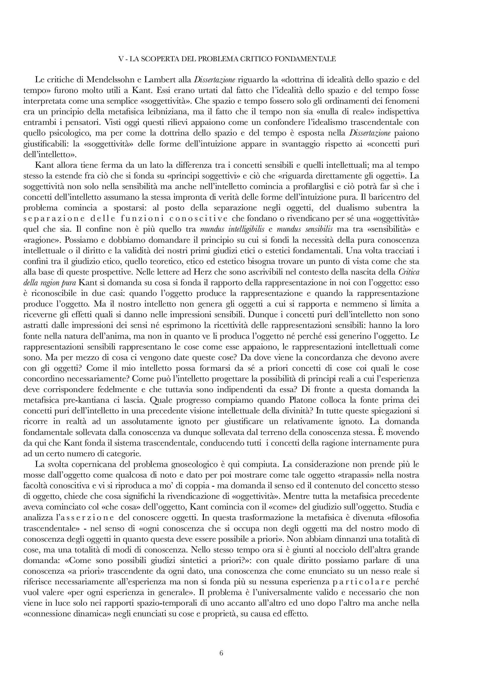 Riassunto esame Estetica, prof. Gentili, libro consigliato Vita e dottrina di Kant, E Cassirer Pag. 6