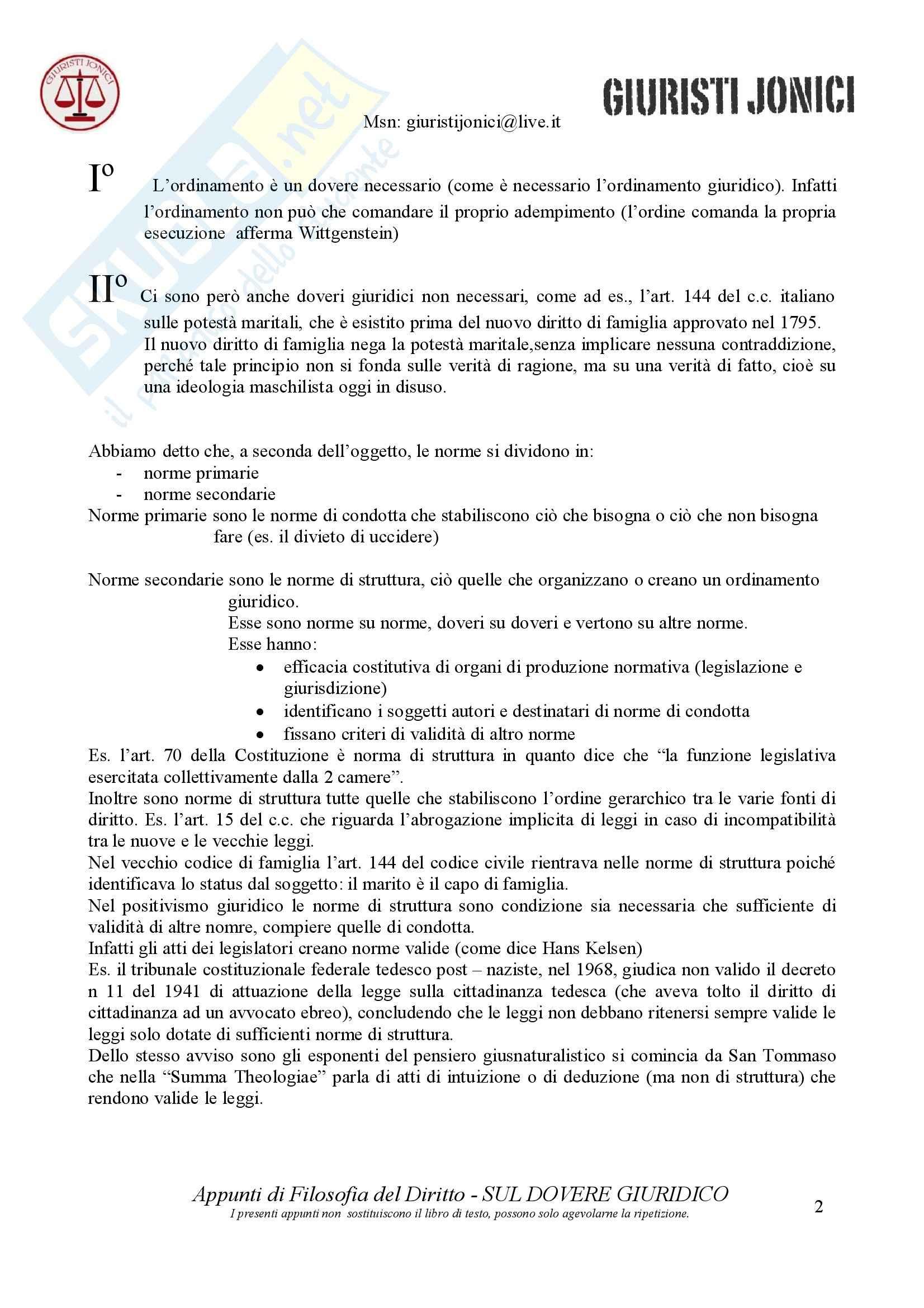 Filosofia del diritto - Dovere giuridico Pag. 2