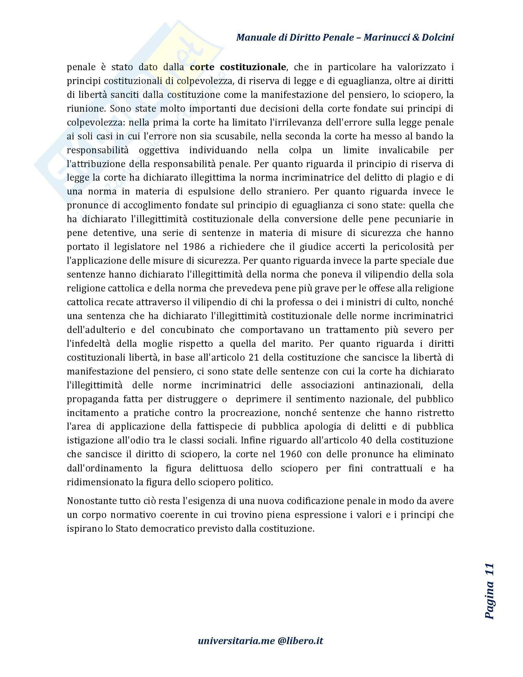 Riassunto esame Diritto Penale, prof. D'Ascola, libro consigliato Manuale di Diritto Penale, Marinucci, Dolcini Pag. 11