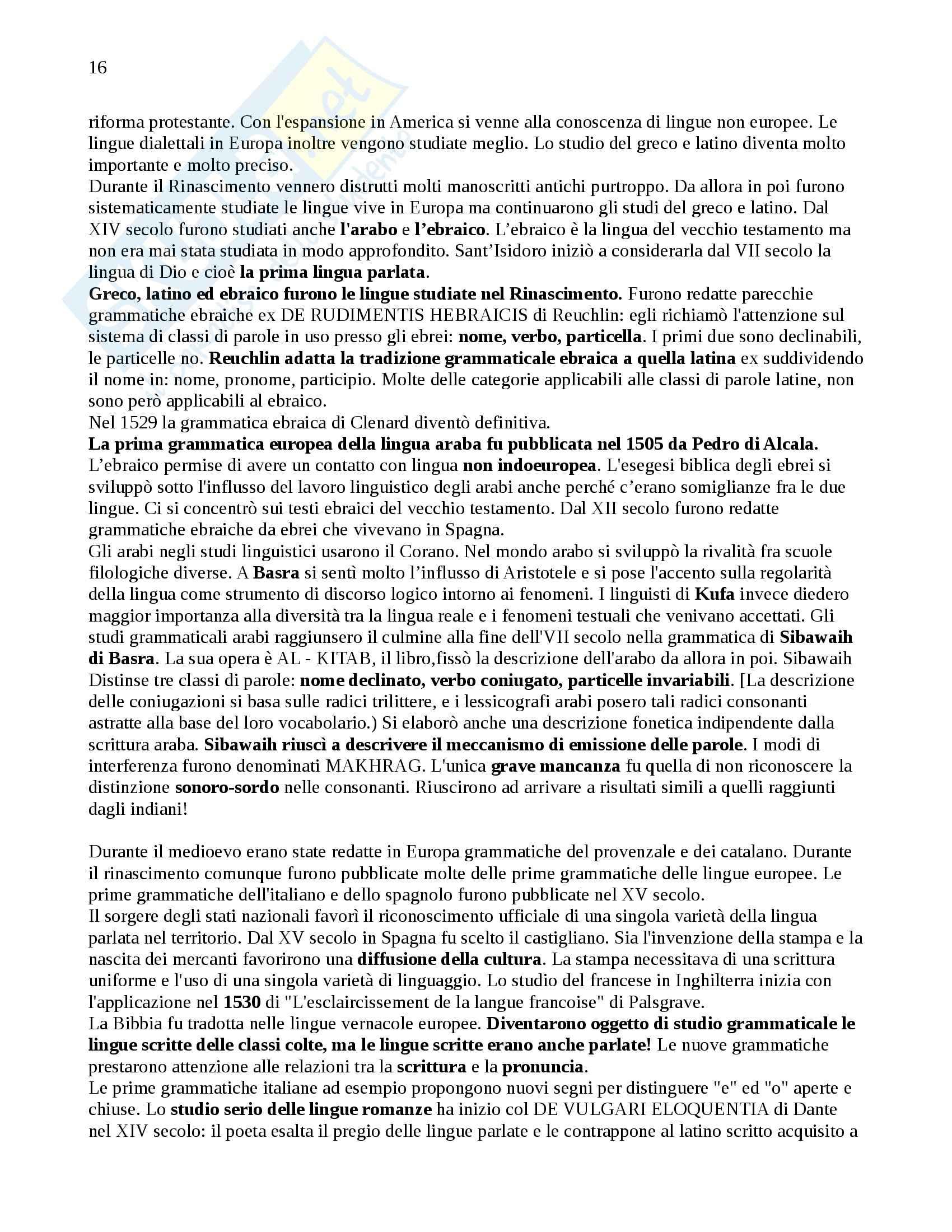 Riassunto esame Glottologia, prof. Poccetti, libro consigliato Storia della Linguistica, R. Robinson Pag. 16