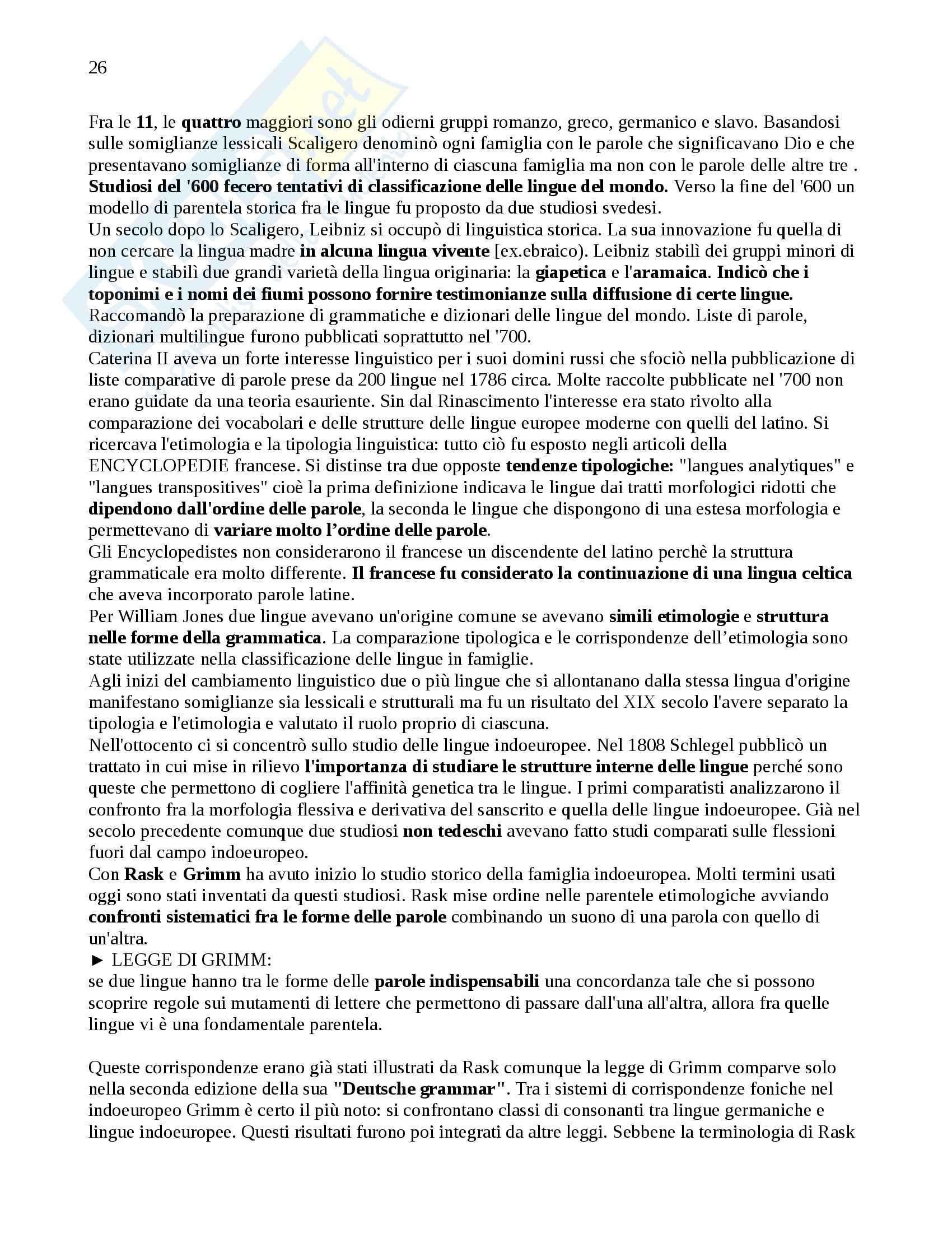 Riassunto esame Glottologia, prof. Poccetti, libro consigliato Storia della Linguistica, R. Robinson Pag. 26