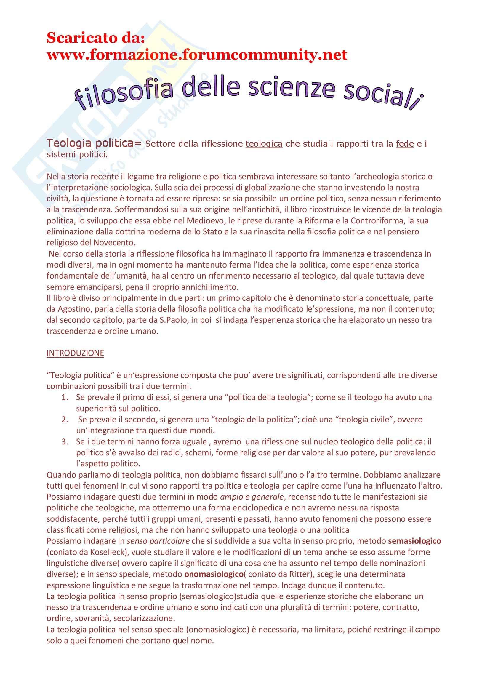 Filosofia delle scienze sociali - la teologia politica