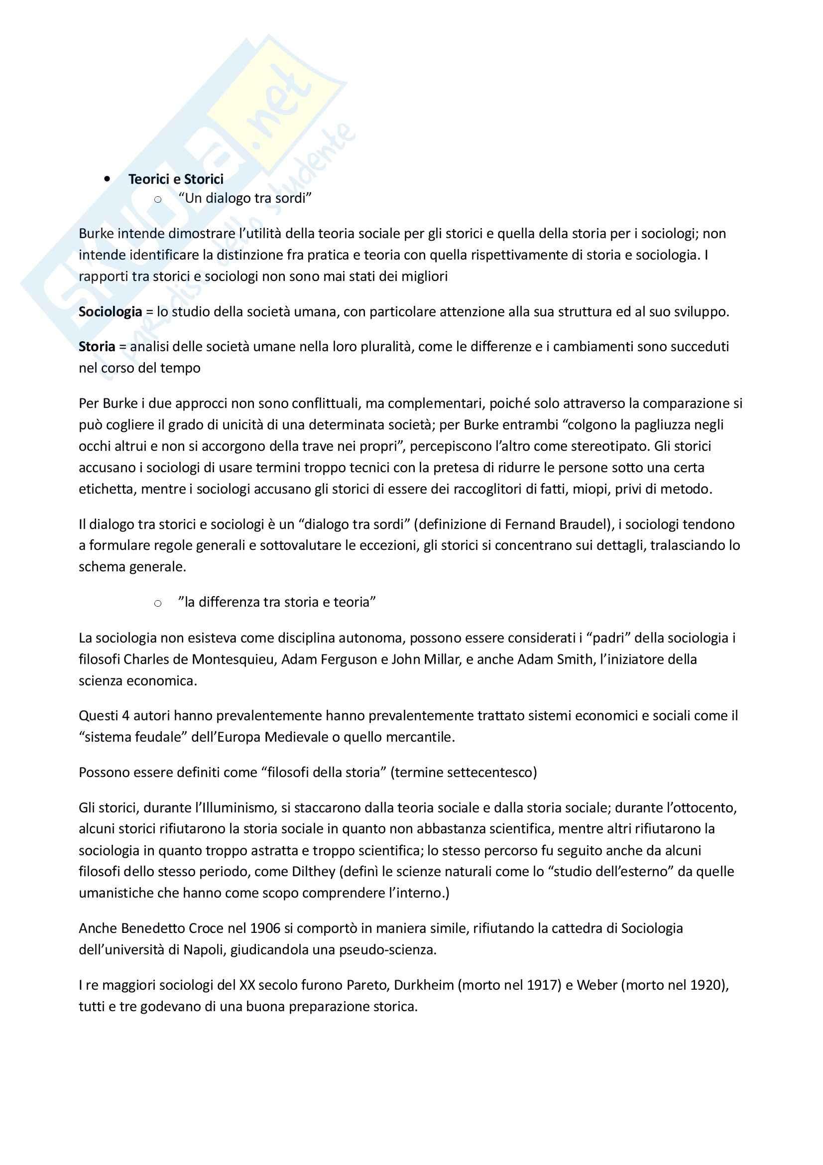 Riassunto esame Metodologia della ricerca sociale, prof. Rosso, libro consigliato Storia e Teoria Sociale, Burke