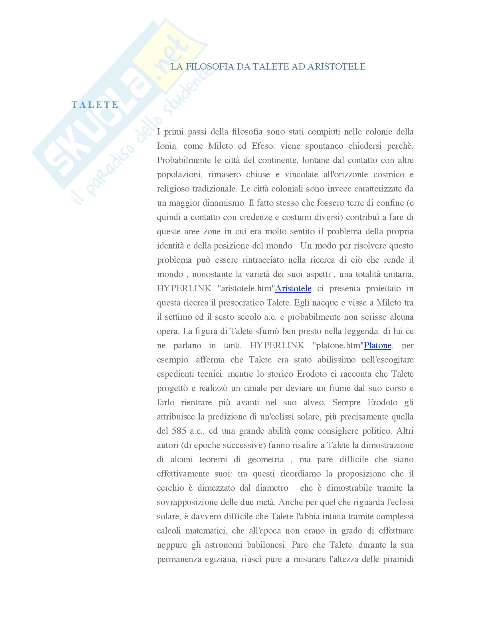 Filosofia antica - Appunti