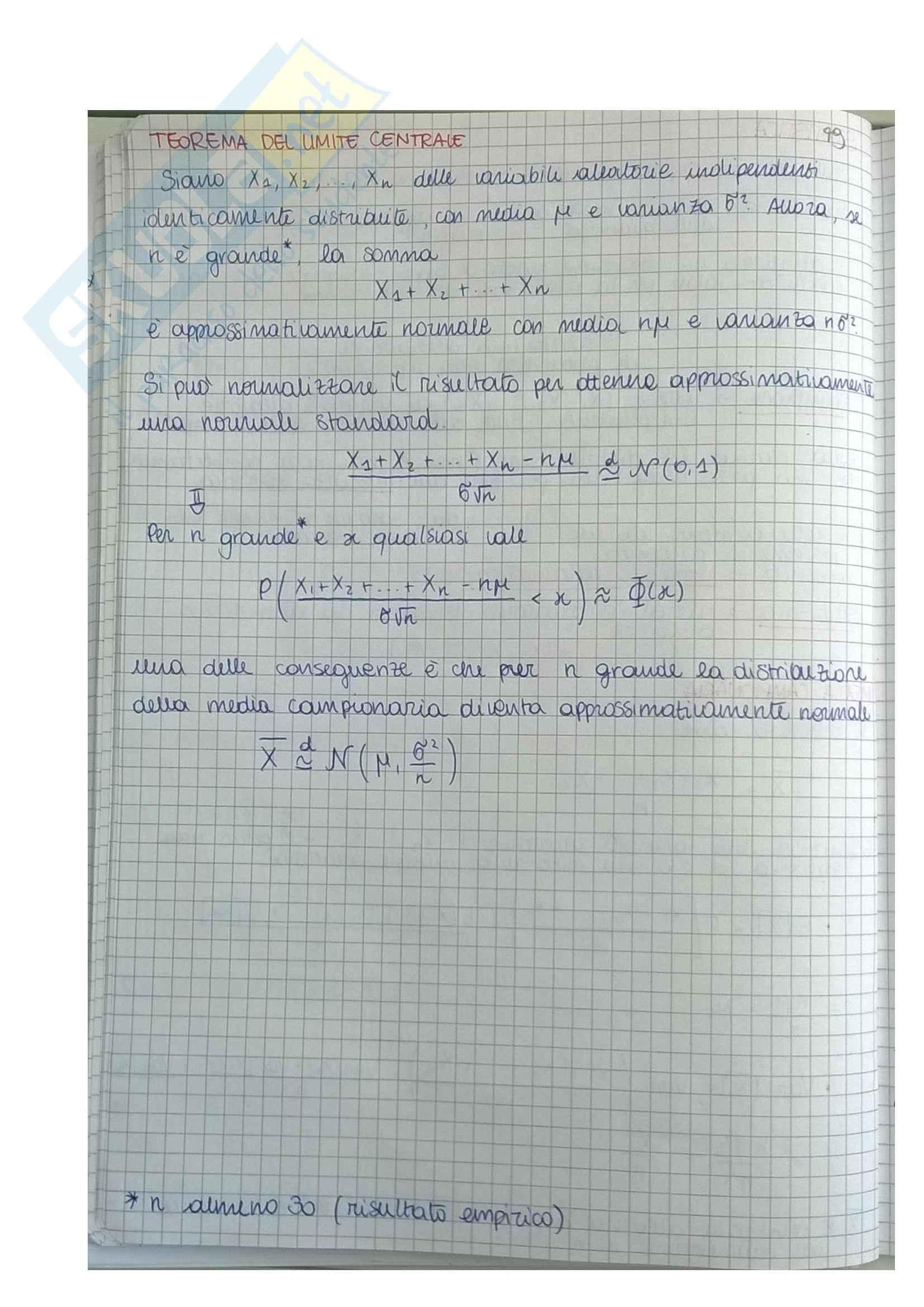 Riassunto esame Statistica e calcolo delle probabilità, prof. De Gregorio Pag. 2