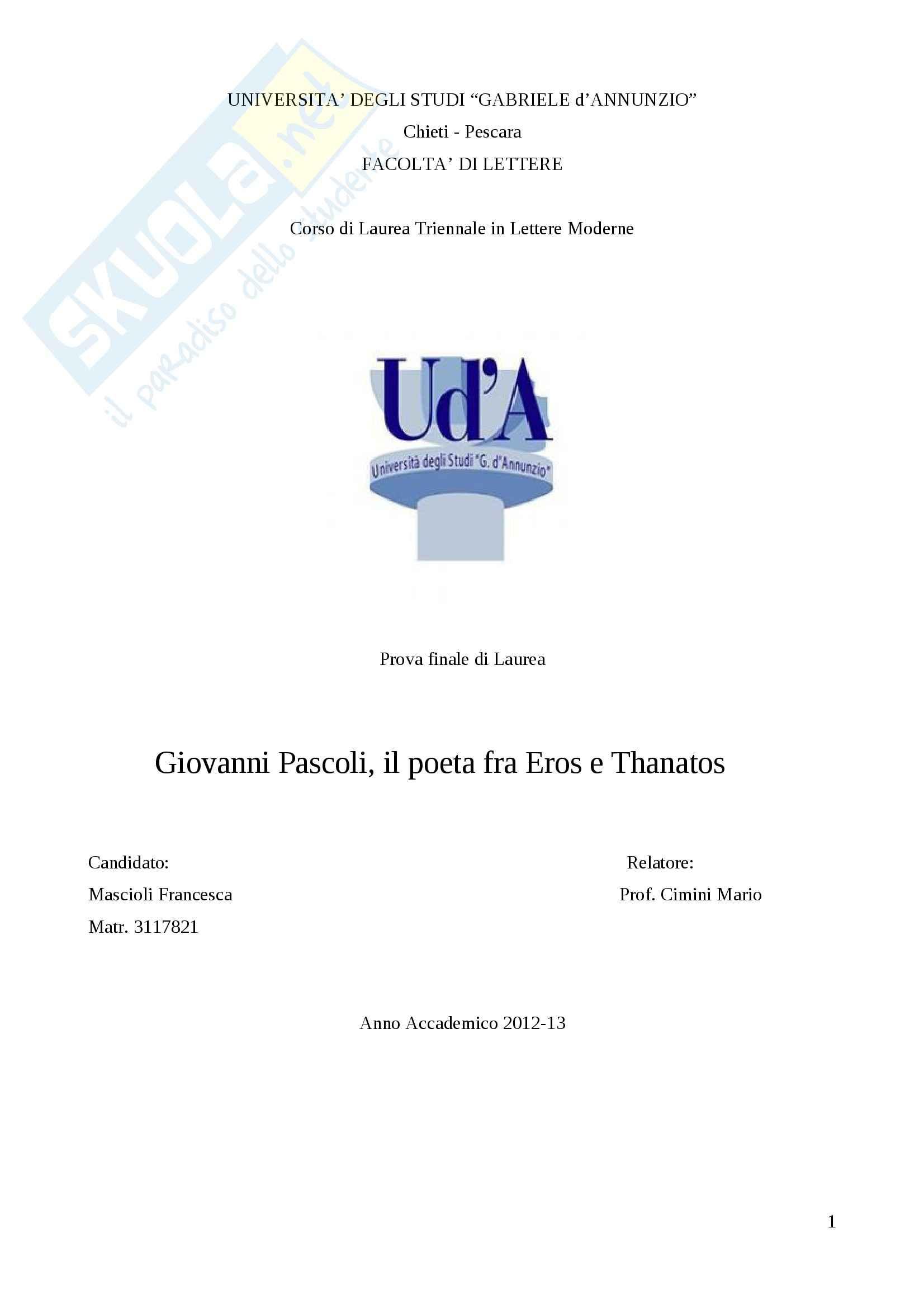 Tesi - Pascoli, il poeta fra Eros e Thanatos