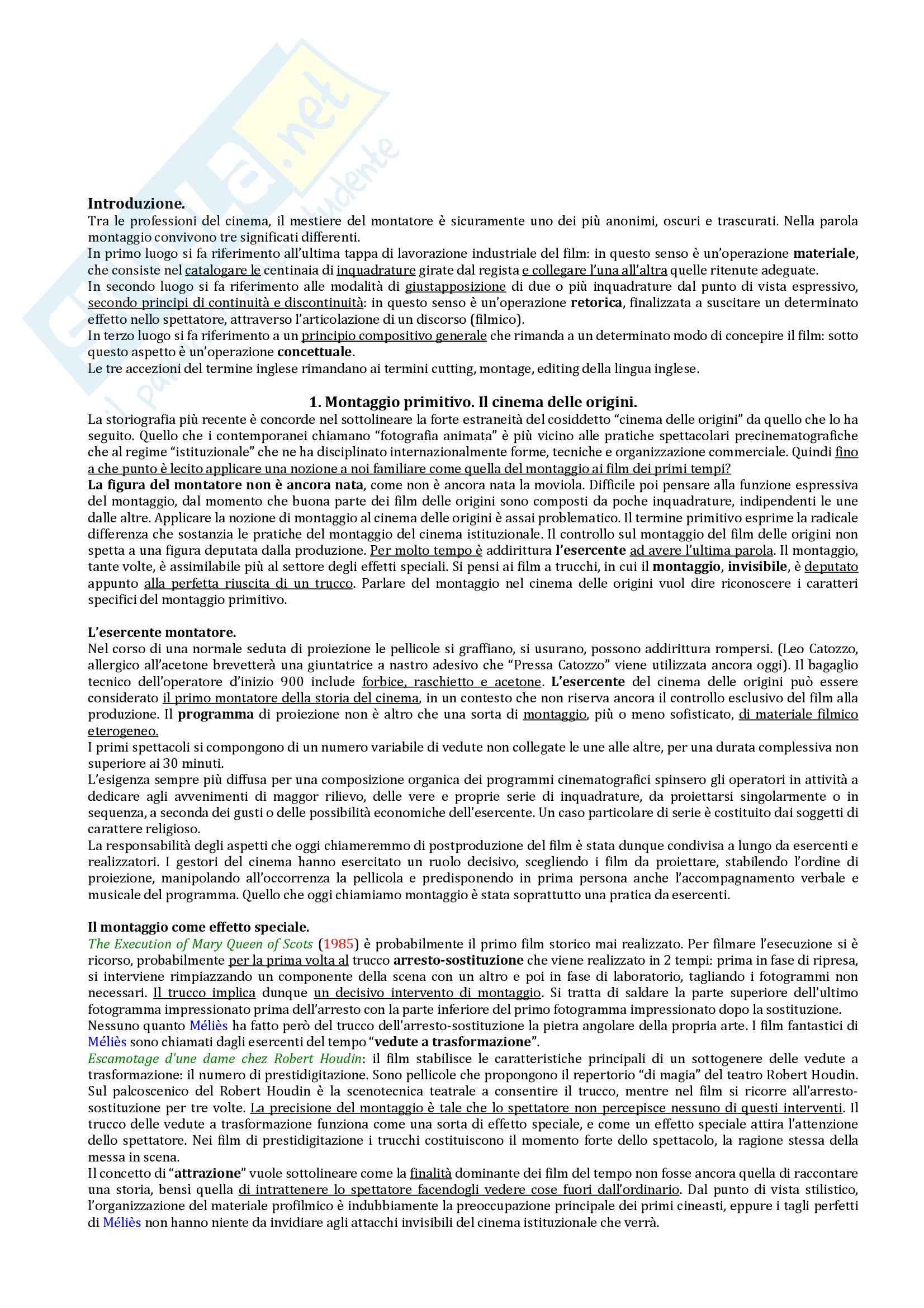 Riassunto esame Analisi del Film, prof. Guerrini, libro consigliato Il Montaggio nella Storia del Cinema di Vitella