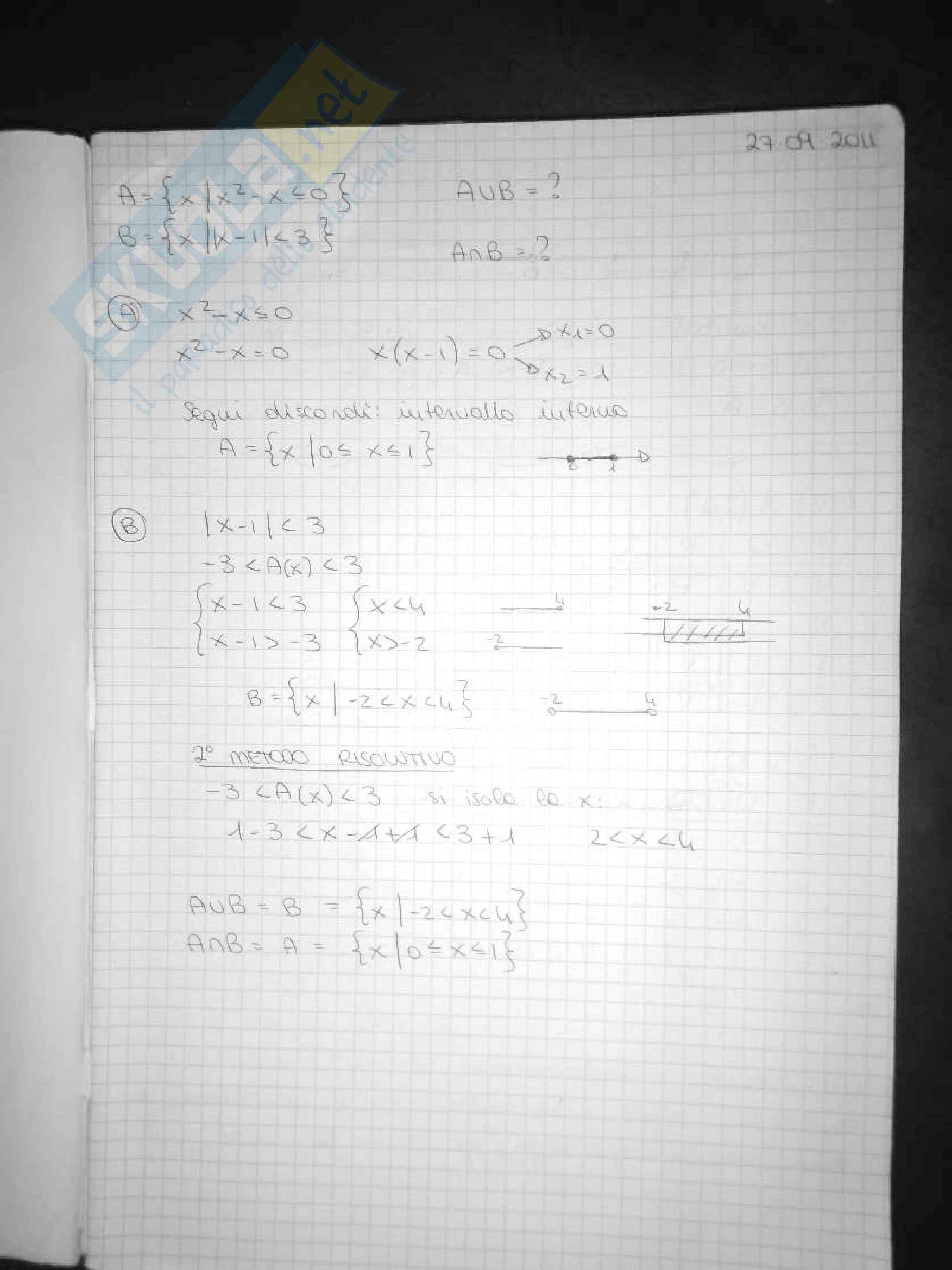 Esercitazioni matematica generale