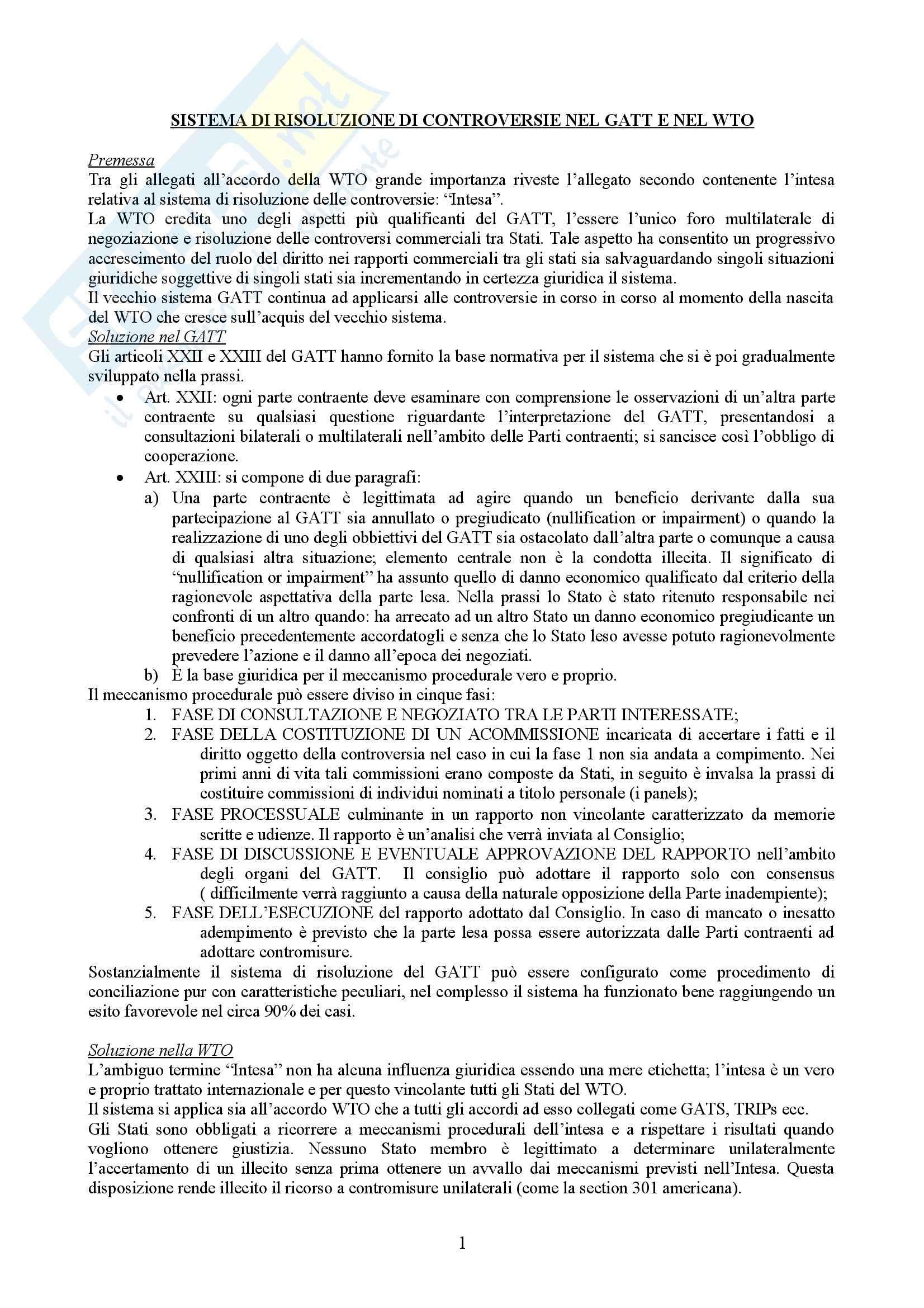 Diritto internazionale - il sistema di risoluzione delle controversie nel Gatt e nel Wto