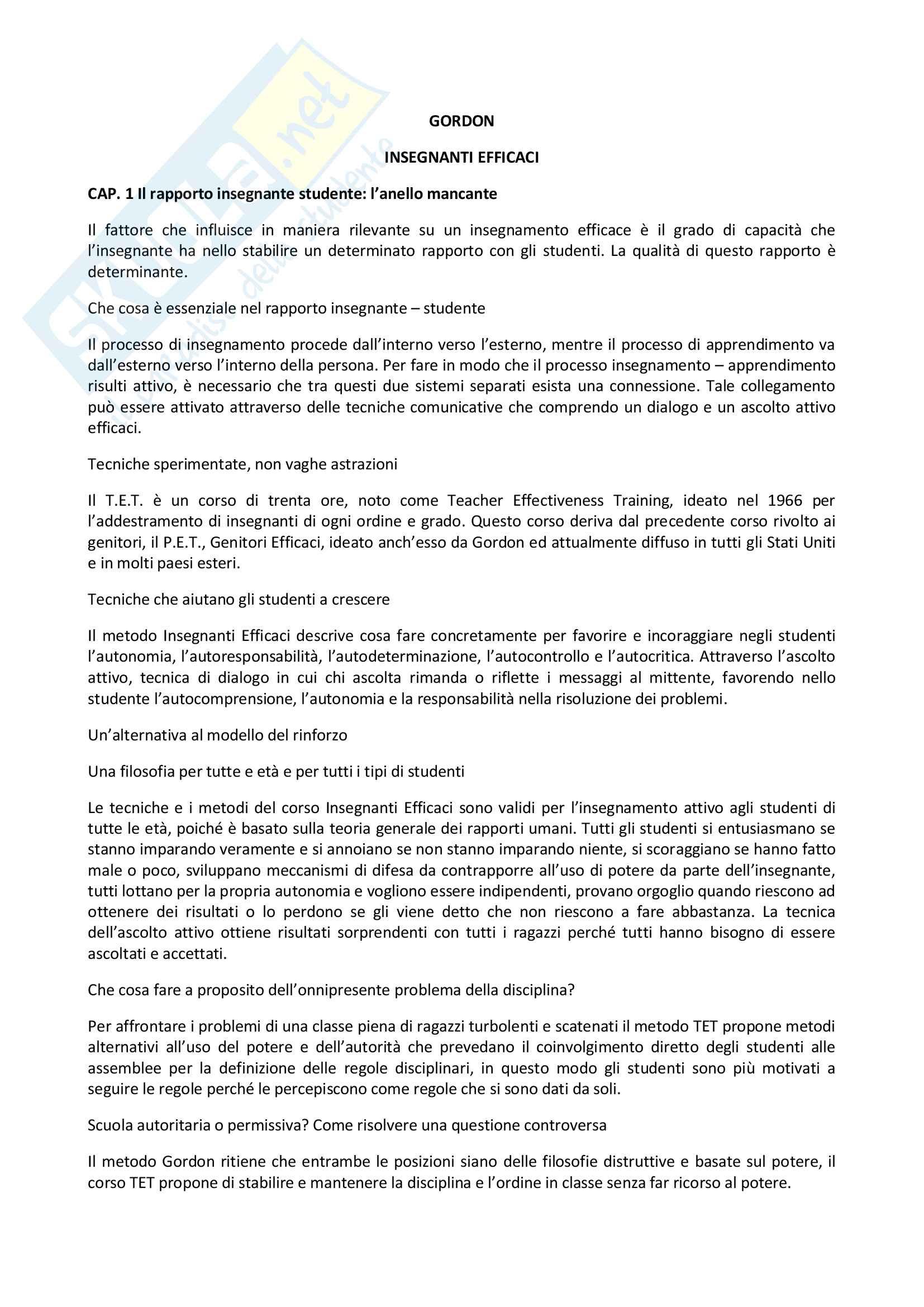 Riassunto esame psicologia dell'educazione e della formazione in una prospettiva europea, prof. Pallini, libro consigliato Insegnanti Efficaci, Gordon