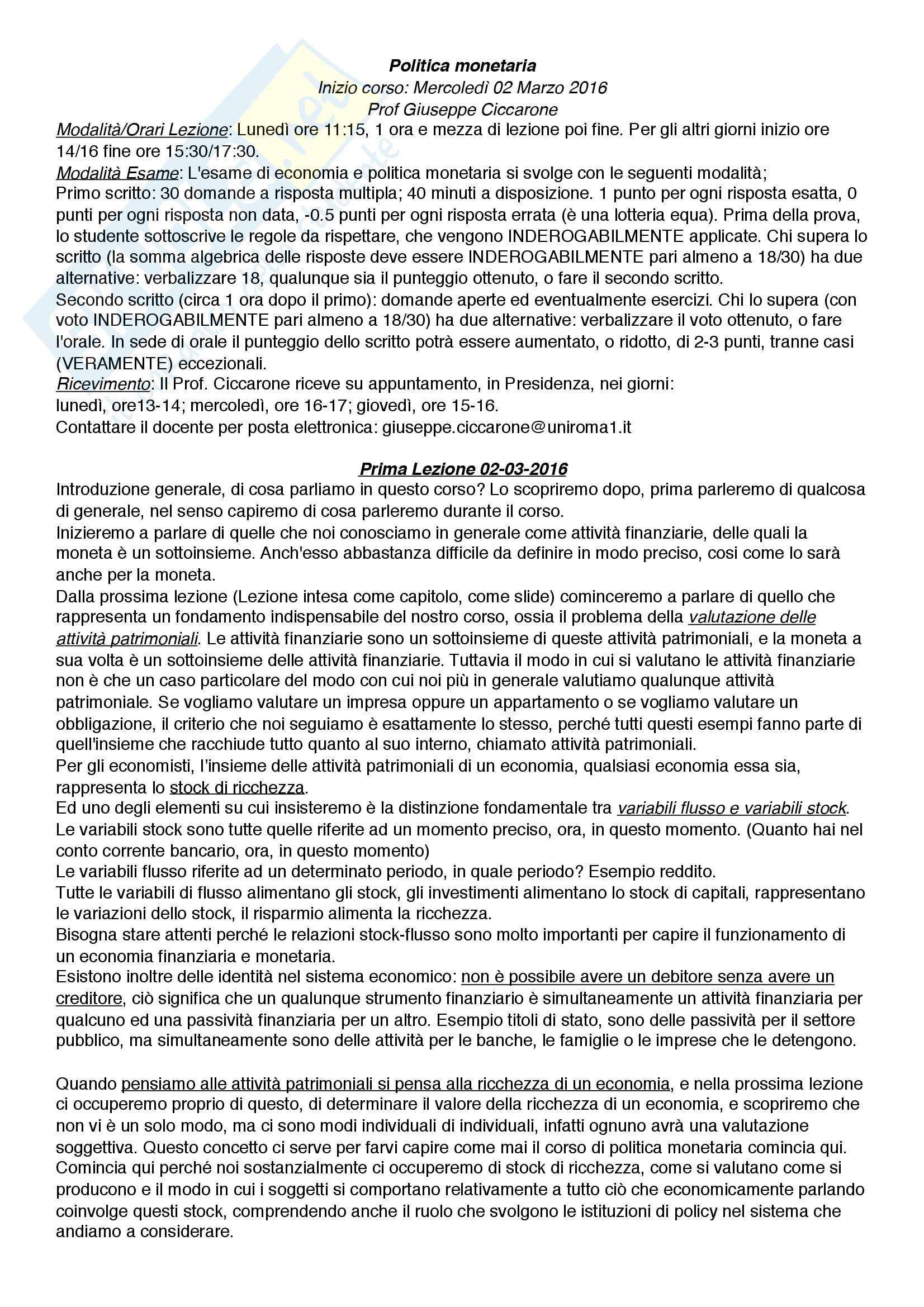 Riassunto Politica Monetaria - Ciccarone